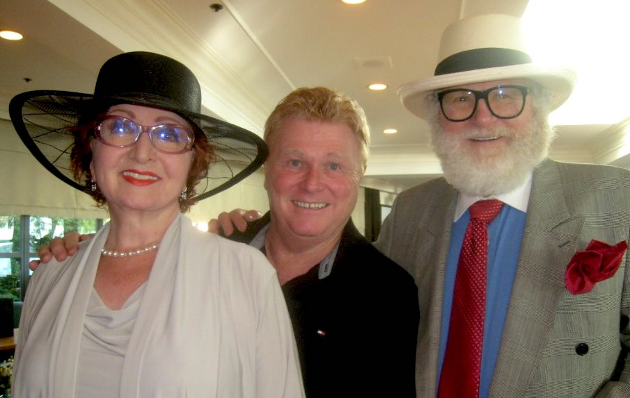 From left: Gillian Campbell, BC Entertainment Hall of Fame president Rob Haynes, and Edward Thompson at the Sylvia Hotel reception.