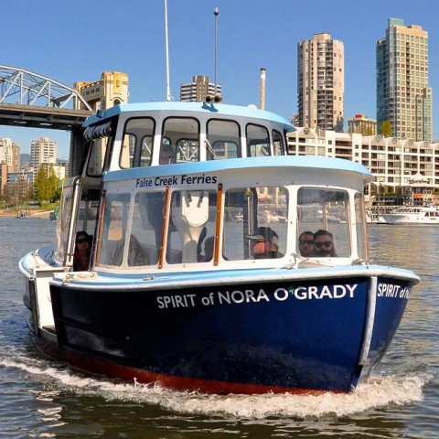 The Spirit of Nora O'Grady sails again from the Aquatic Centre to Granville Island.