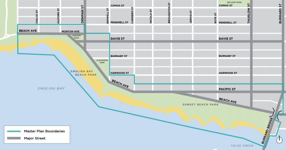 The area under consideration for an English Bay masterplan. (click to enlarge).