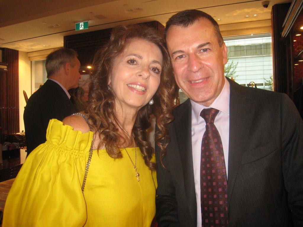 Bianca Fusco Zanatta with the new French Con. gen. Philippe Sutter at Stefano Ricci reception.