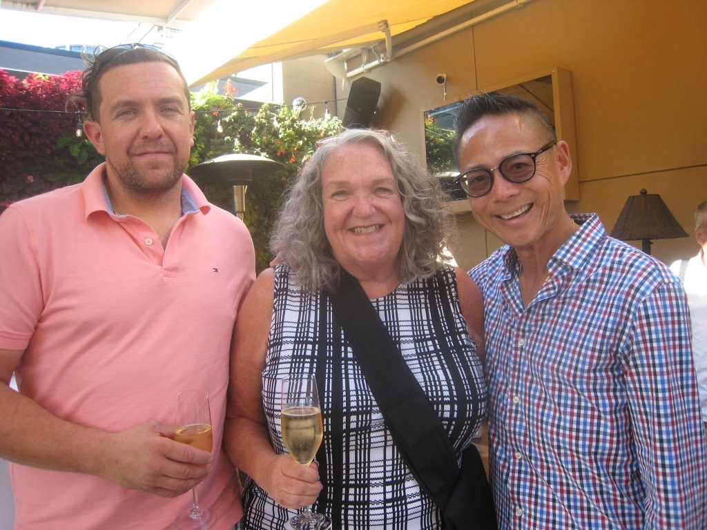 Edward and the Vancouver Courier's Sandra Thomas and Nathan Fong at Joe Fortes party..