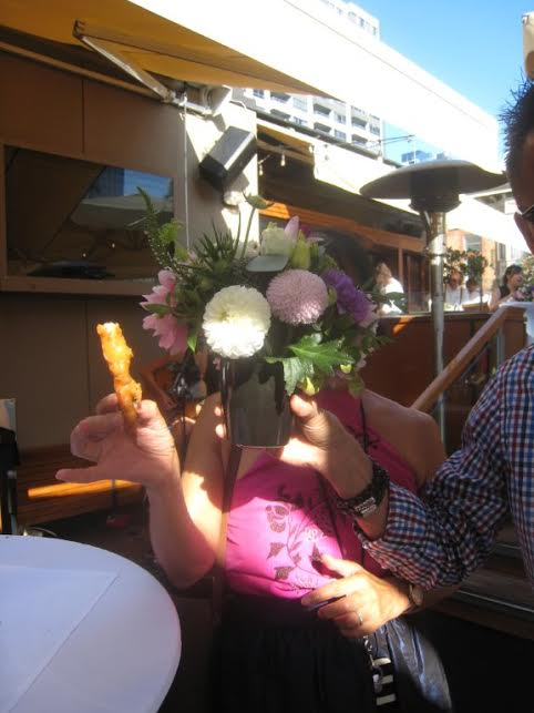 A rare sighting of Vancouver Sun restaurant critic Mia Stainsby … hiding behind the potted plant!