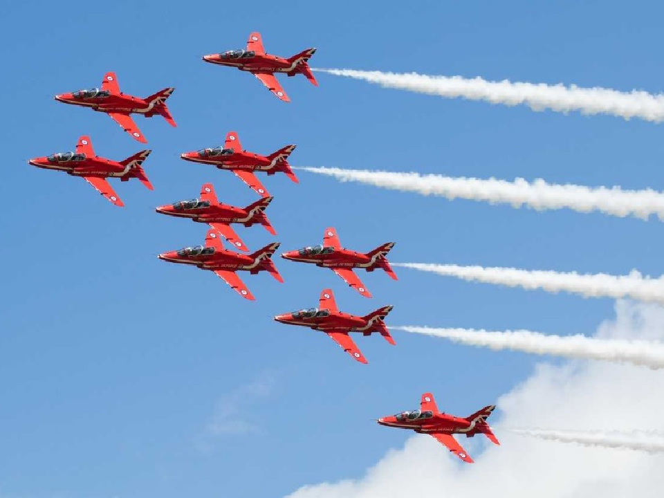 The Royal Air force Red Arrows were seen over the West End.