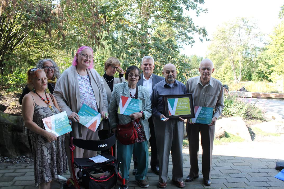 Pamela Leaman (third from left) and Vladimir Tsvasman (second from right) with other finalists for this year's Senior Volunteer of the Year Award. (photo by Abbie Purdy  of the West End Senior's Network)