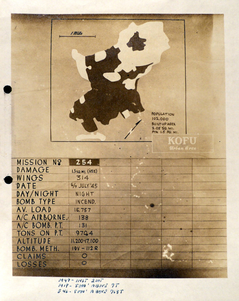 Damage Report Map of Kofu City, July 1945, XXI Bomber Command (US National Archives, Record Group 243, Series 59, Box 5)