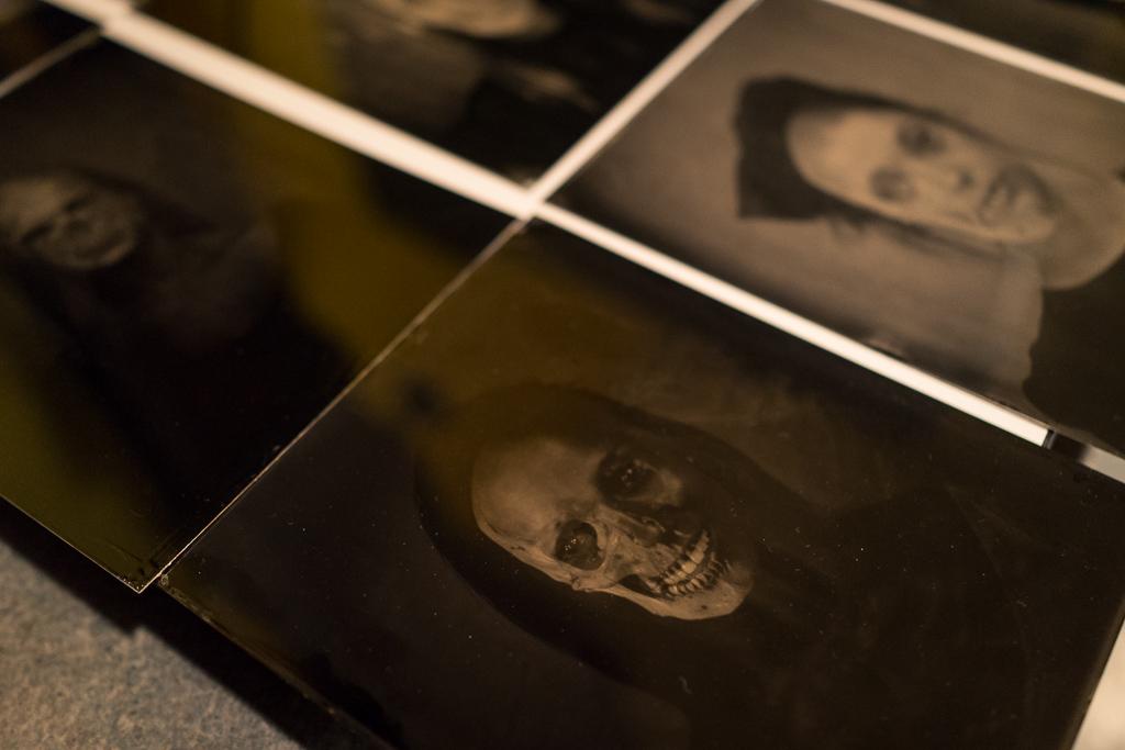 Joseph Gamble's tintype plates cure in preparation for his Vanitas Fair exhibit.