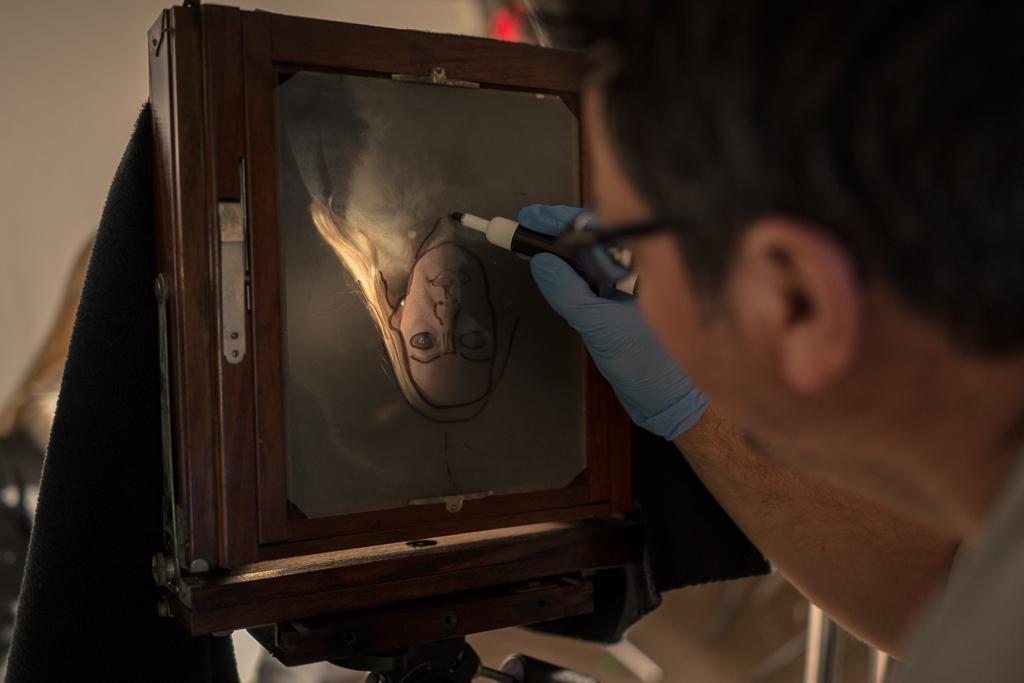 Joseph Gamble creates 8x10 tintype portraits for his Vanitas Fair exhibit (Sony RX1, iso 800, 1/25 sec, f2).