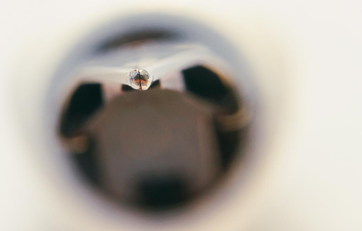 Lamy Safari medium nib, black. Misaligned tines. Photographed with a Sony RX1 through a 8x loupe.