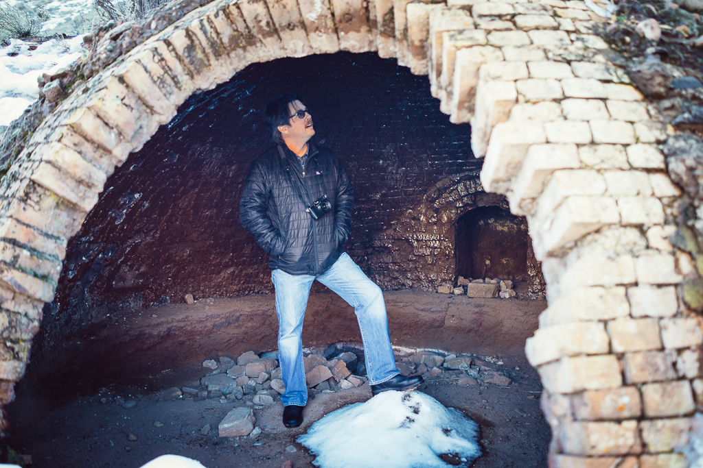 Joseph in a giant oven that years ago was used to fire coal to melt silver.