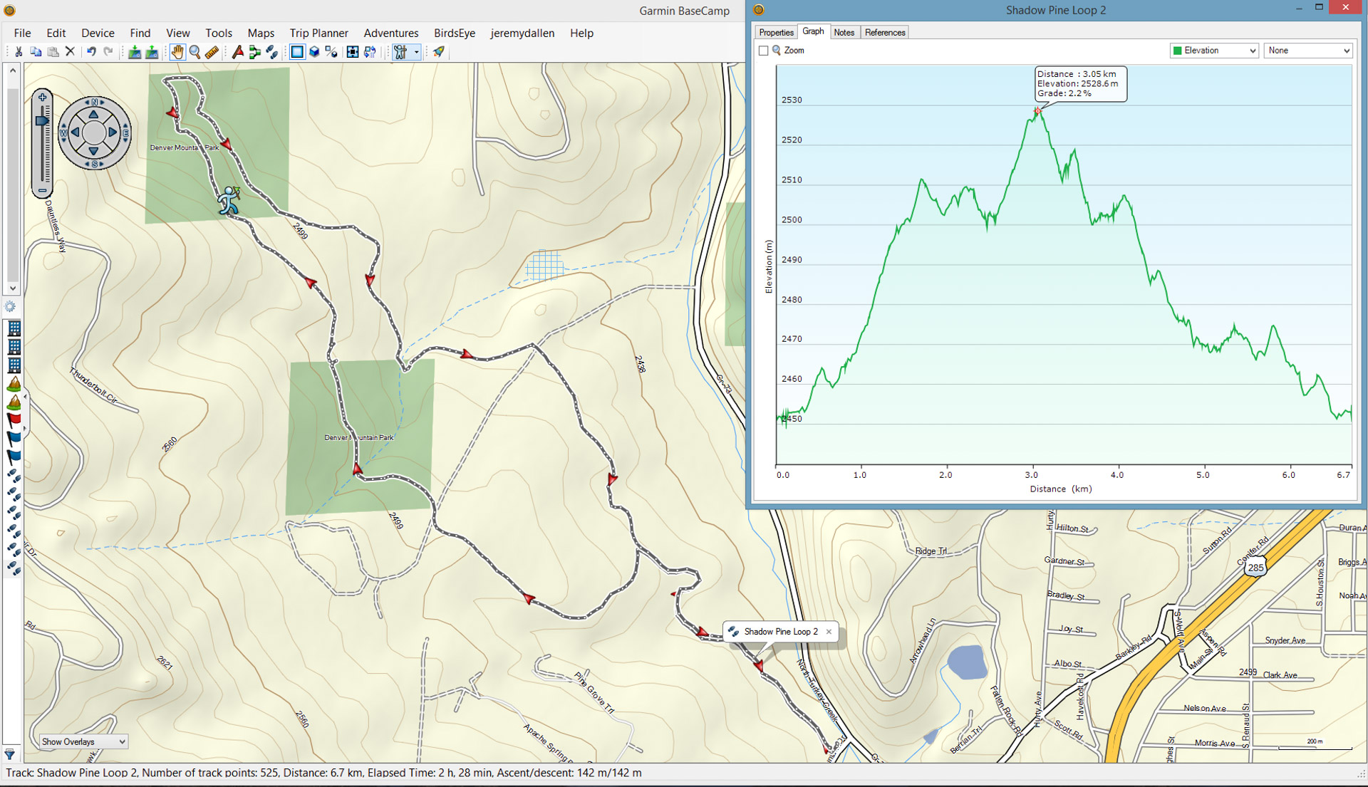 Screen capture of the Shadow Pine Loop Trail displayed in Garmin's Basecamp software.