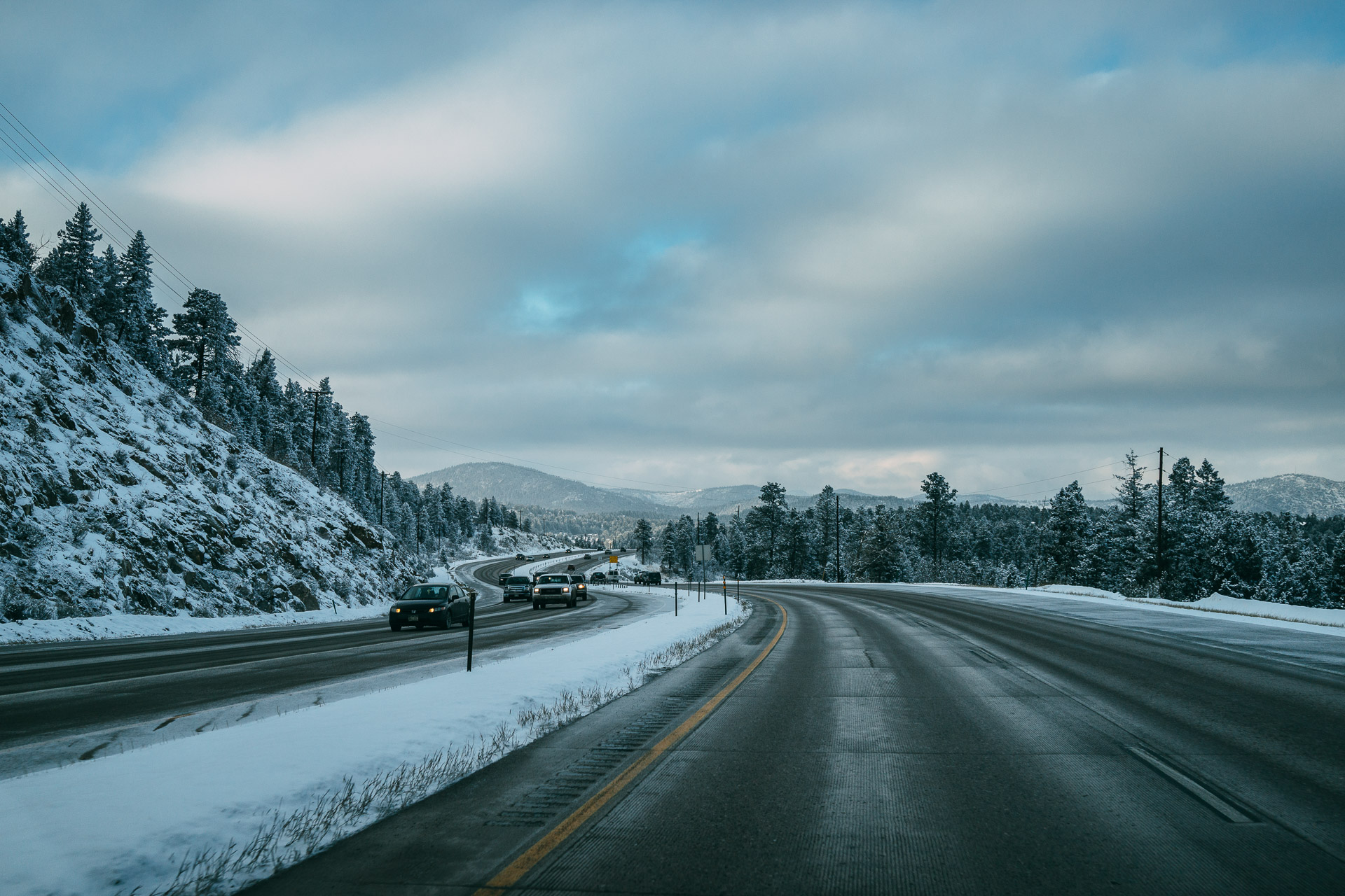 A frosty drive on Highway 285 in Conifer, about 20 miles southwest of Denver.