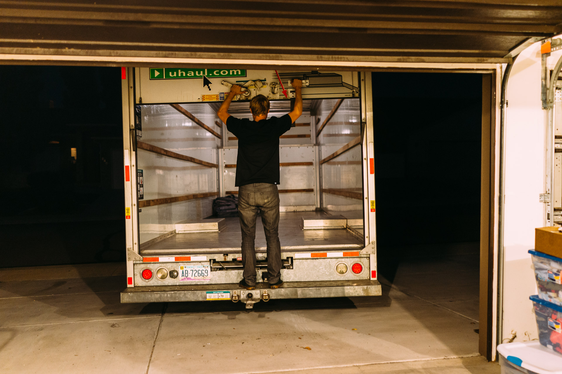 A   U-Haul journey across the Rocky Mountains in Colorado (Sony RX1). 2 a.m. and we are finally unloaded. Time to drop off the Uhaul van.