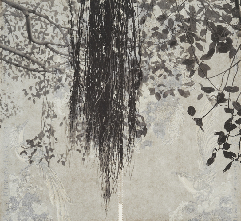 "Branches and Boughs I,  2009   Archival digital pigment print on kozo shi, vintage wallpaper   20"" X 21.5"""