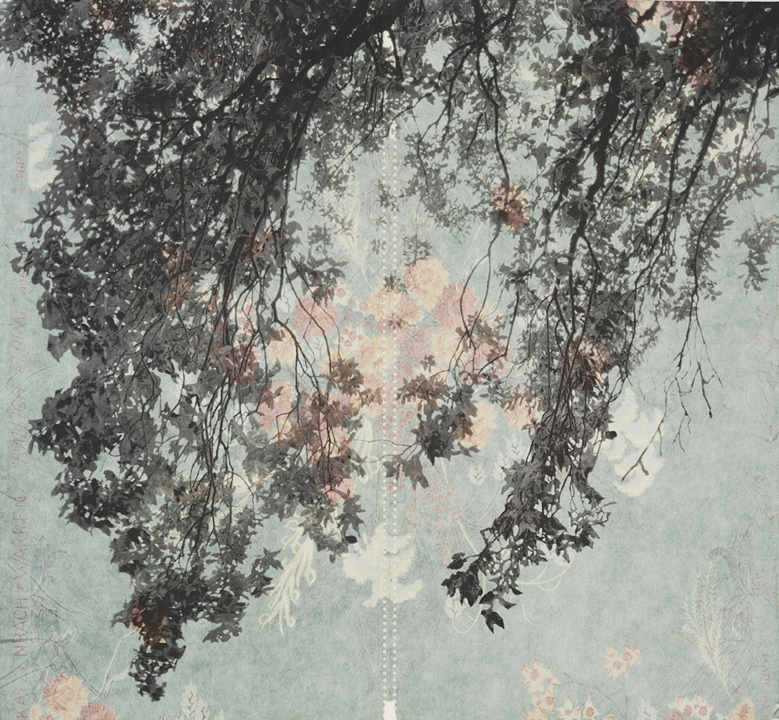 "Branches and Boughs VII,  2009   Archival digital pigment print on kozo shi, vintage wallpaper   20"" X 21.5"""