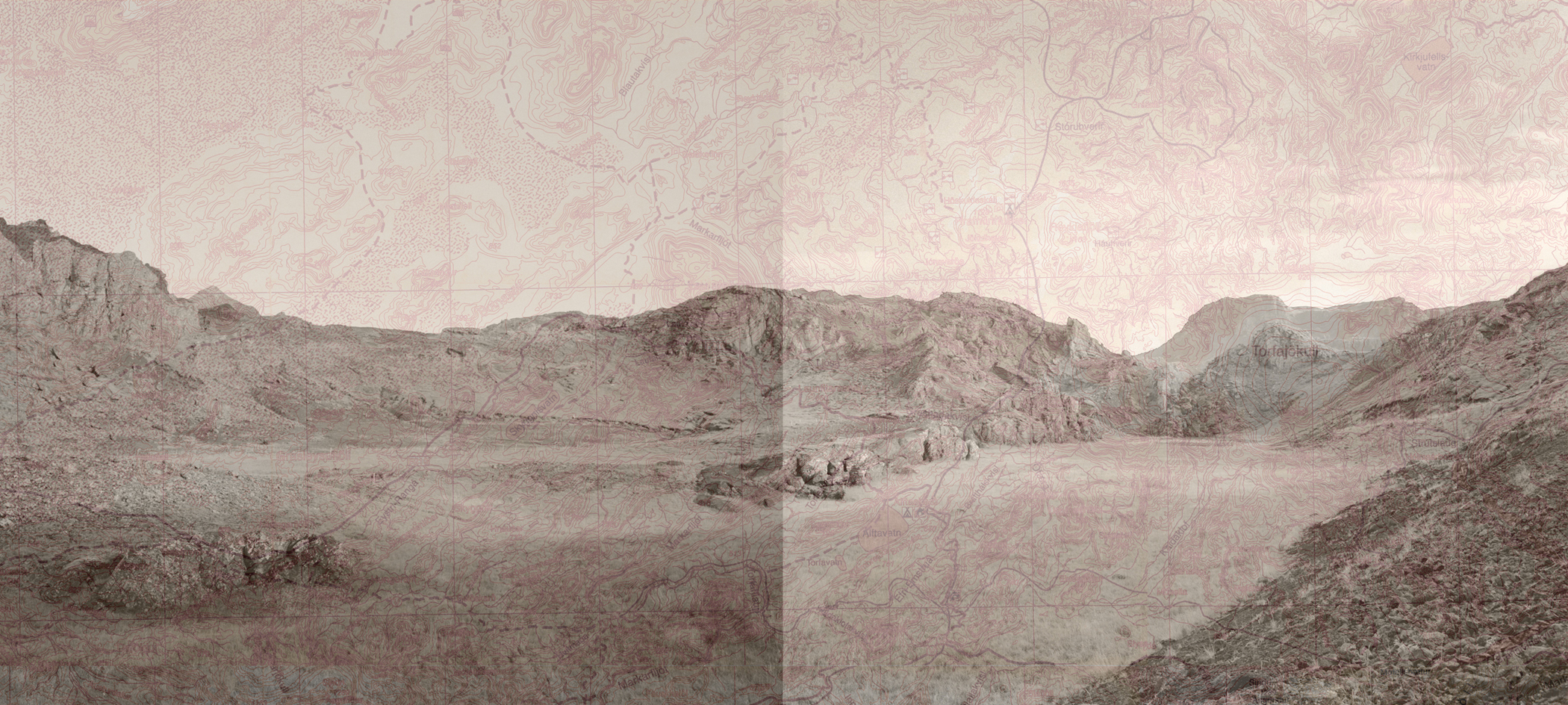 """Volcanic Crater Diptych, 2006   Archival digital pigment print collage on Thai Mulberry, in two layers,Edition of 6   28"""" X 62.3"""""""