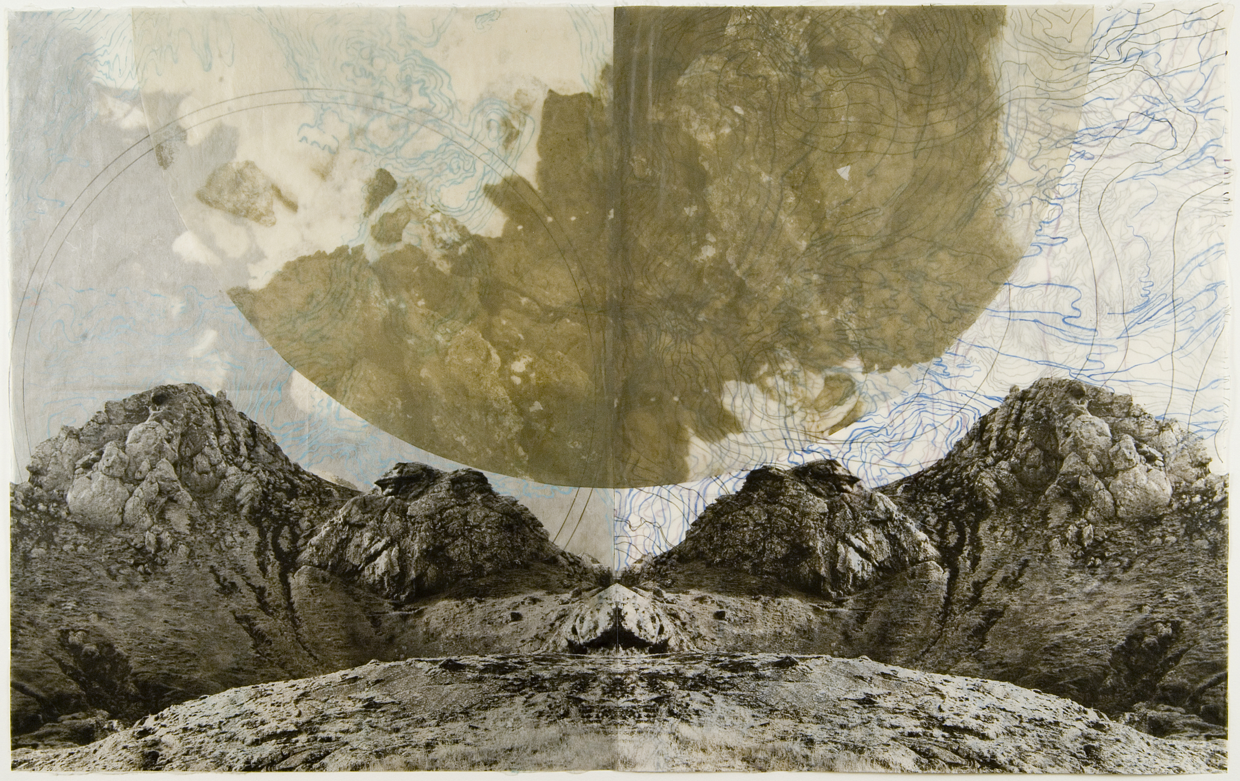 "New Moon,  2007   Photogravure on kozo shi, oil paint, wax, in layers   24.75"" X 39.25"""