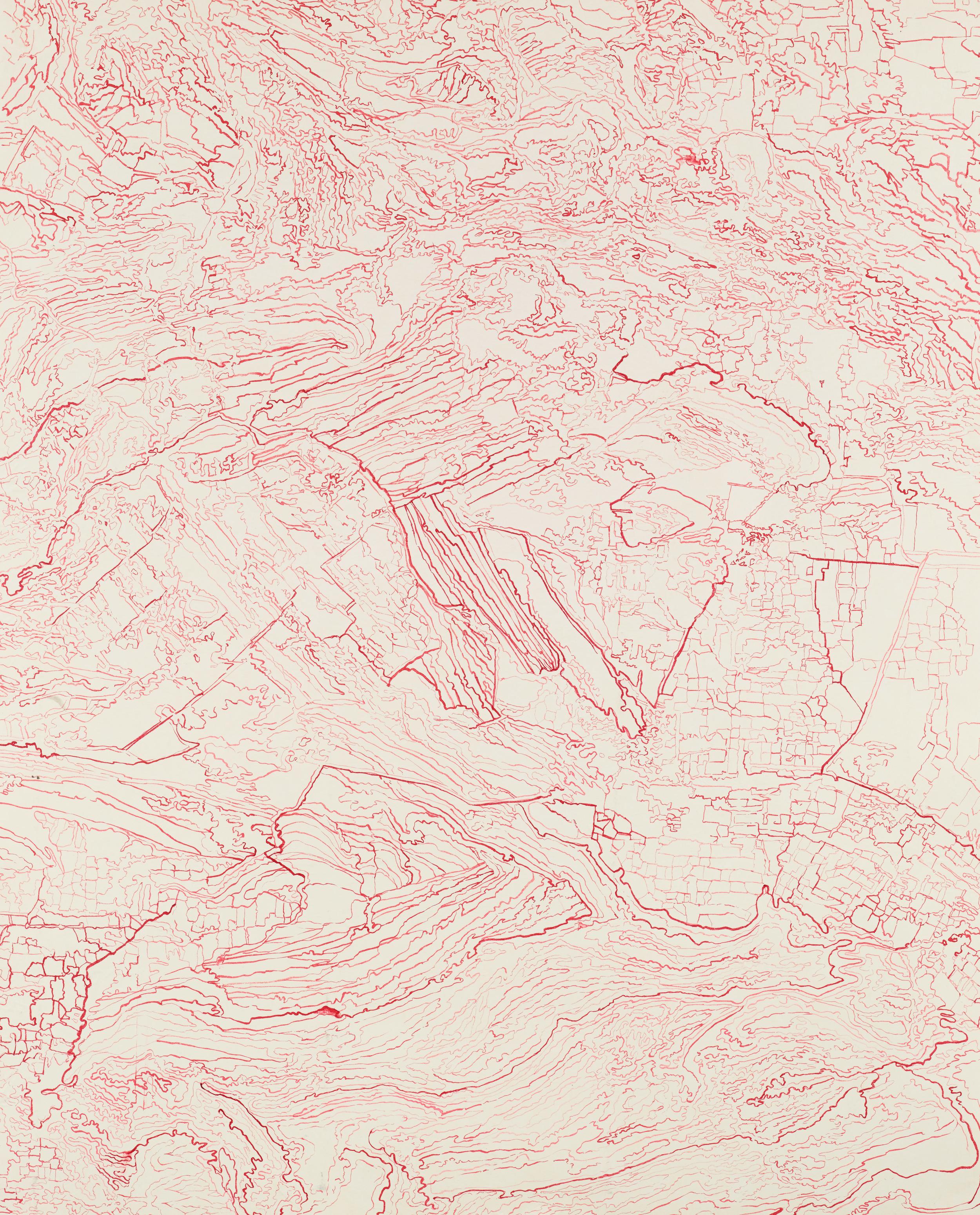"""Untitled III, 2013   Brush and ink onkozo shi   46.6"""" X 37.5"""""""