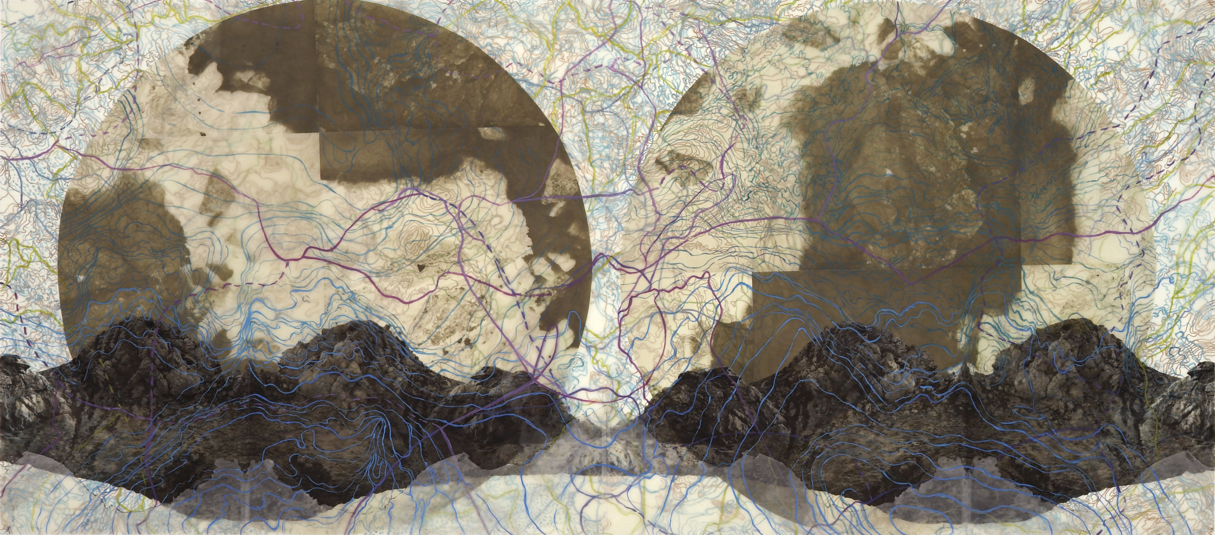 """Geothermal TopographyI, 2007   Photogravure on kozo shi, oil paint and wax in layers   32"""" X 72"""""""