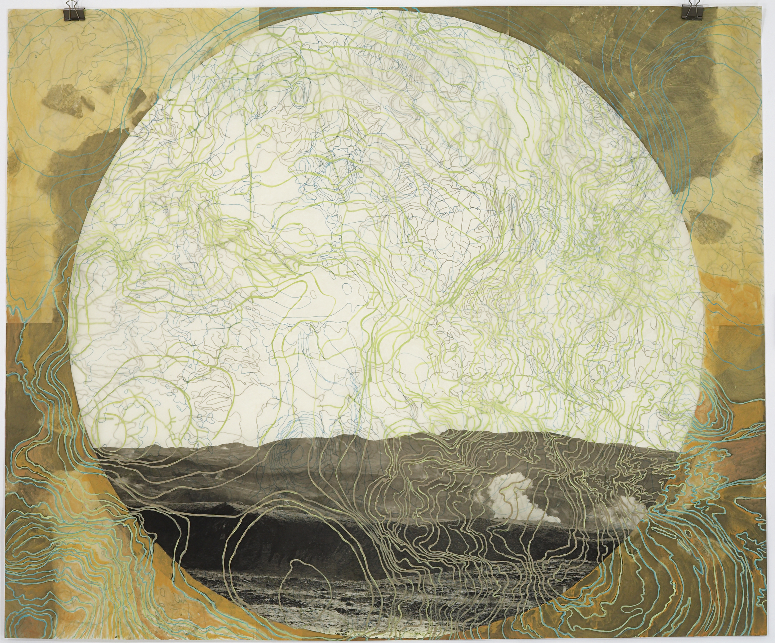 """Geothermal Topography V, 2007   Photogravure on kozo shi, digital pigment print, oil paint and wax in layers   42"""" X 45"""""""