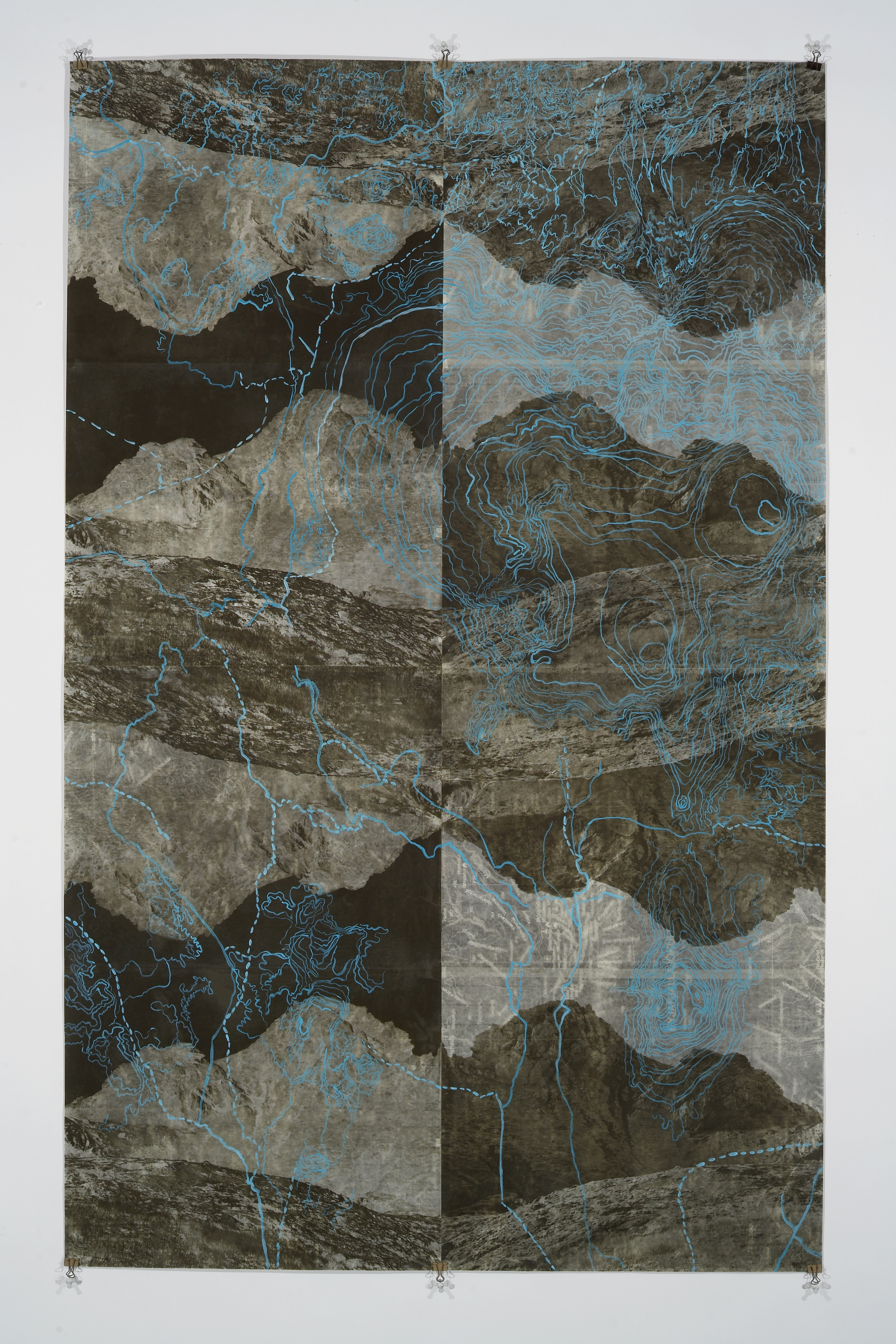 "Eyjafjoll Scroll II,  2006   Photogravure on kozo shi, digital pigment print, oil paint, wax in layers   65.5"" X 41"""
