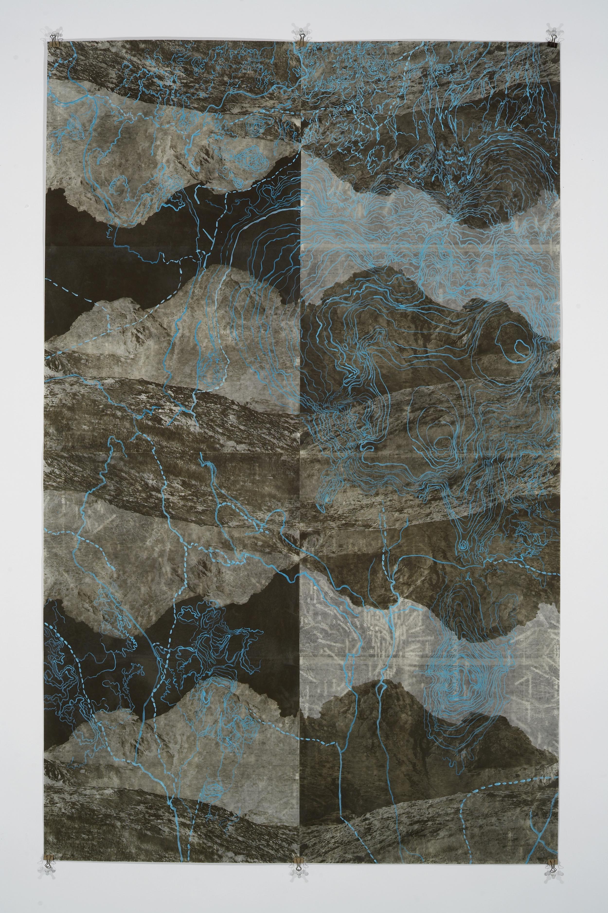 """Eyjafjoll ScrollII, 2006   Photogravure on kozo shi, digital pigment print, oil paint,wax in layers   65.5"""" X 41"""""""