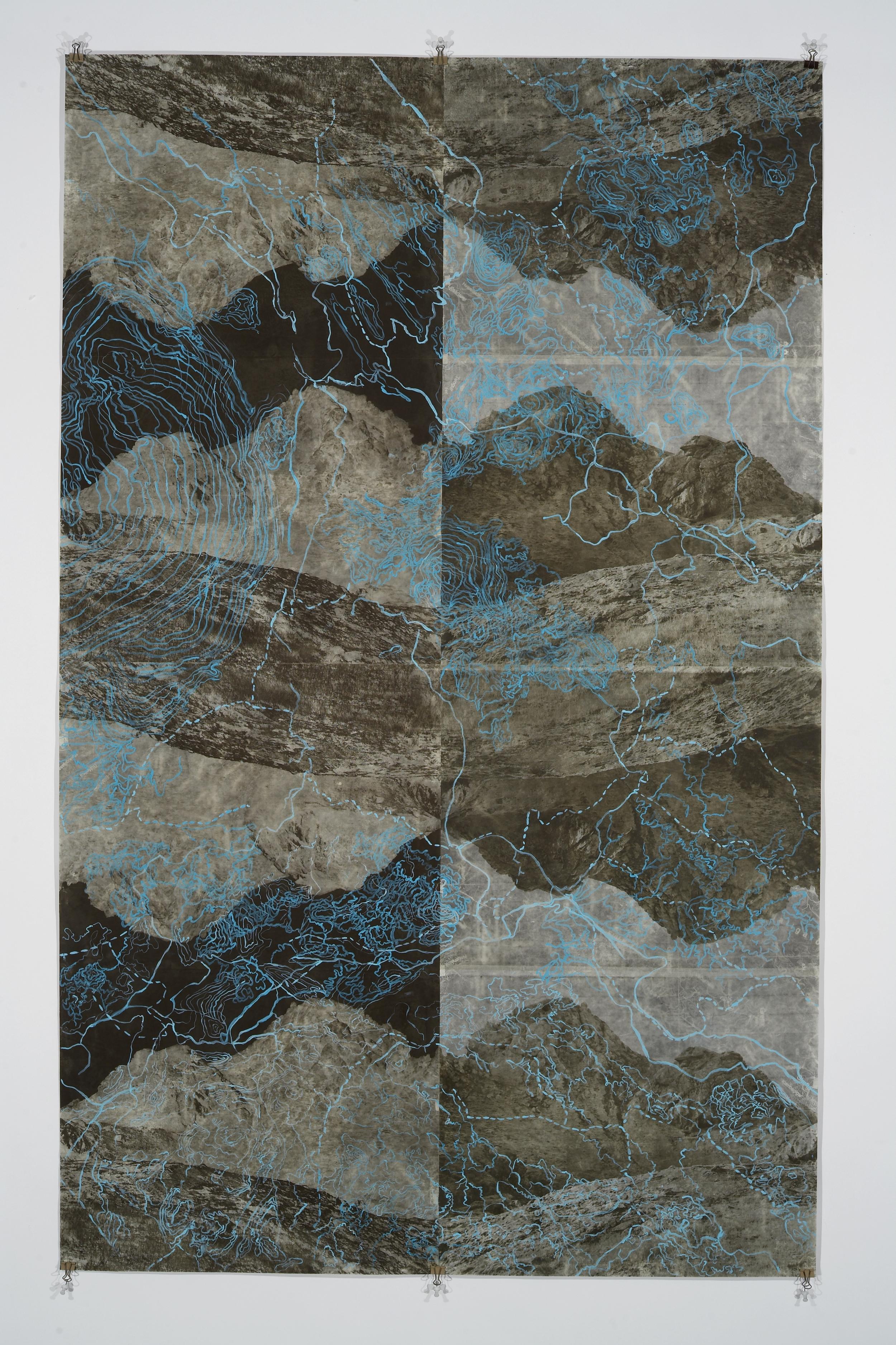 """Eyjafjoll ScrollI, 2006   Photogravure on kozo shi, digital pigment print, oil paint,wax in layers   65.5"""" X 41"""""""