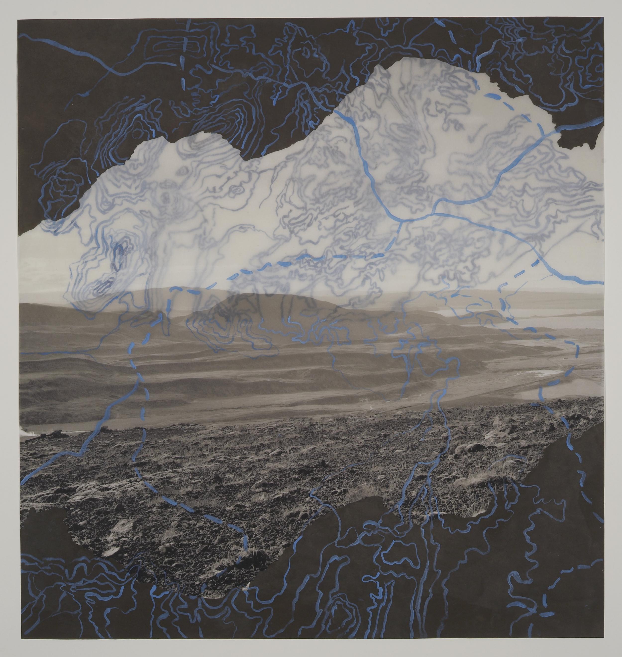 """Obsidian Lava Field II, 2007   Photogravure on kozo shi, digital pigment print, oil paint,wax in layers   21.75"""" X 20.5"""""""