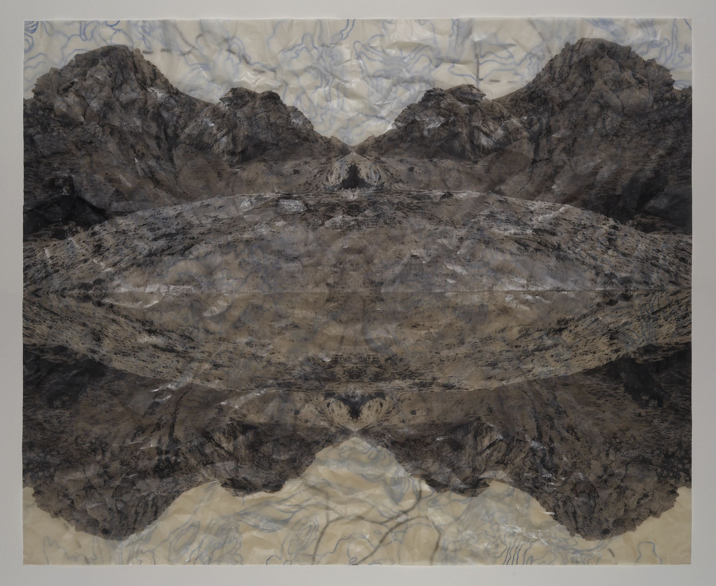 """Pyroclasitite Positive, 2006   Digital pigment print on gampi, oil paint and wax in layers   22"""" X 27"""""""