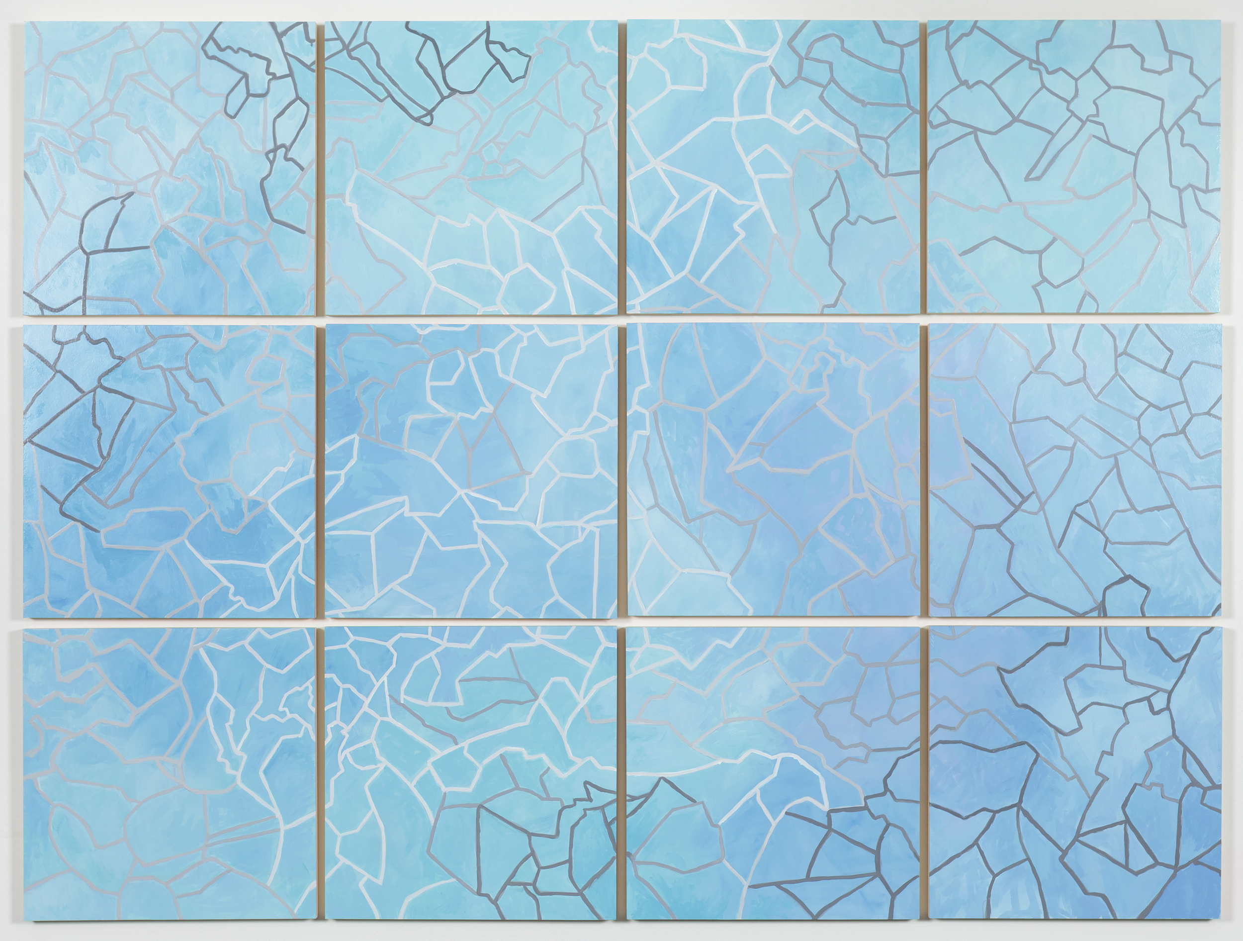 "Grid VI,  2015   Oil on paper mounted on panel, 12 - 18"" X 18"" panels   55"" X 74"""