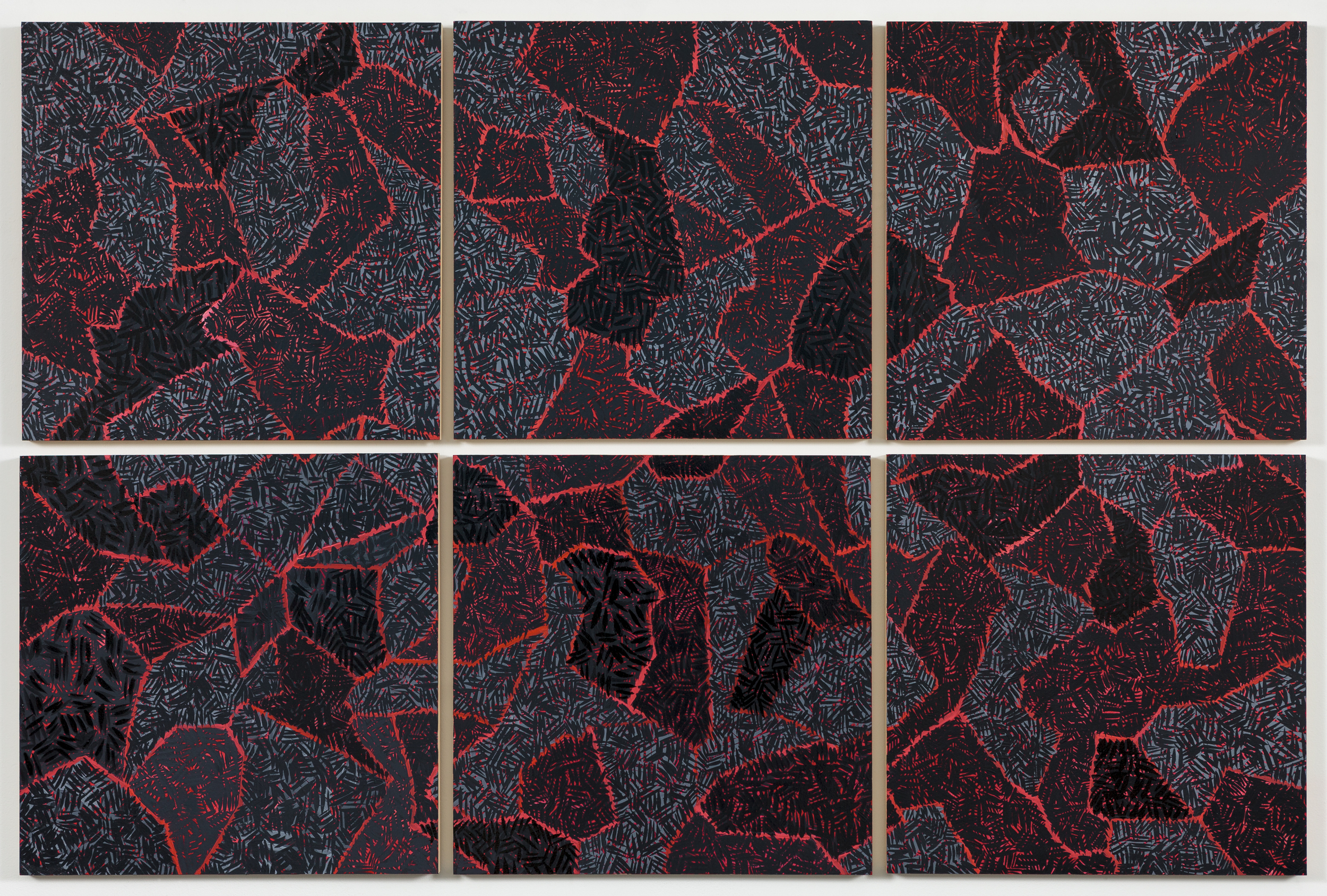 "Grid V,  2015   Oil on paper mounted on panel, 6 - 18"" X 18"" panels   37"" X 55"""