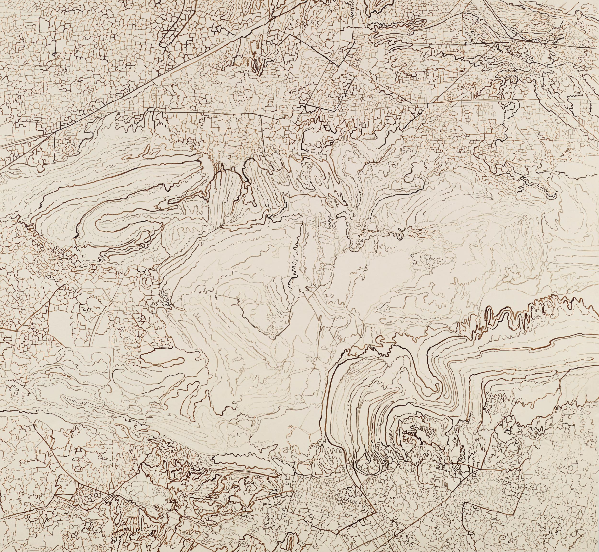 """Untitled I, 2013   Brush and ink onkozo shi   43.25"""" X 43.5"""""""