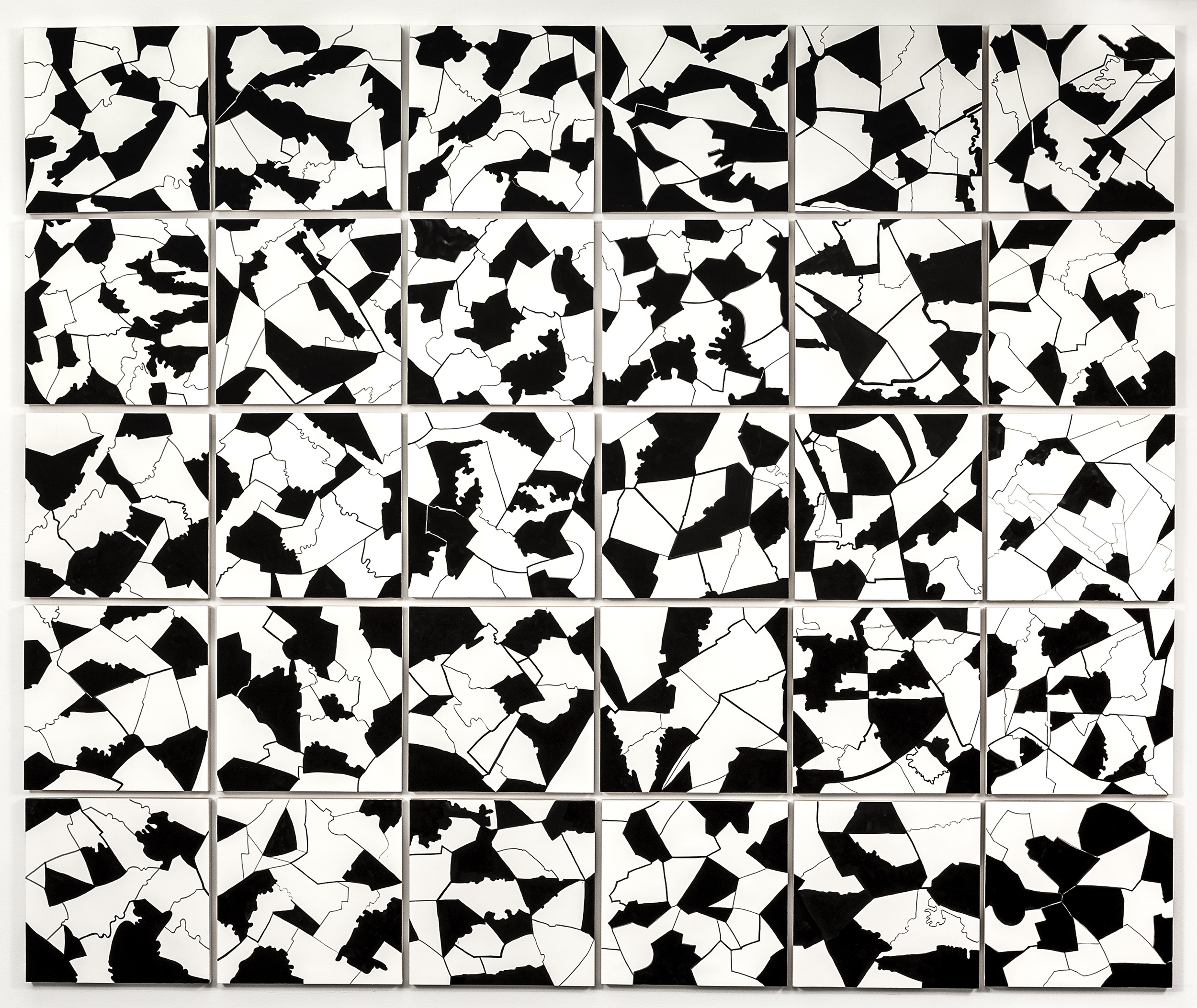 "Grid I,  2015   Gouache on paper mounted on panel, 30 - 12"" X 12"" panels   62.5"" X 75"""