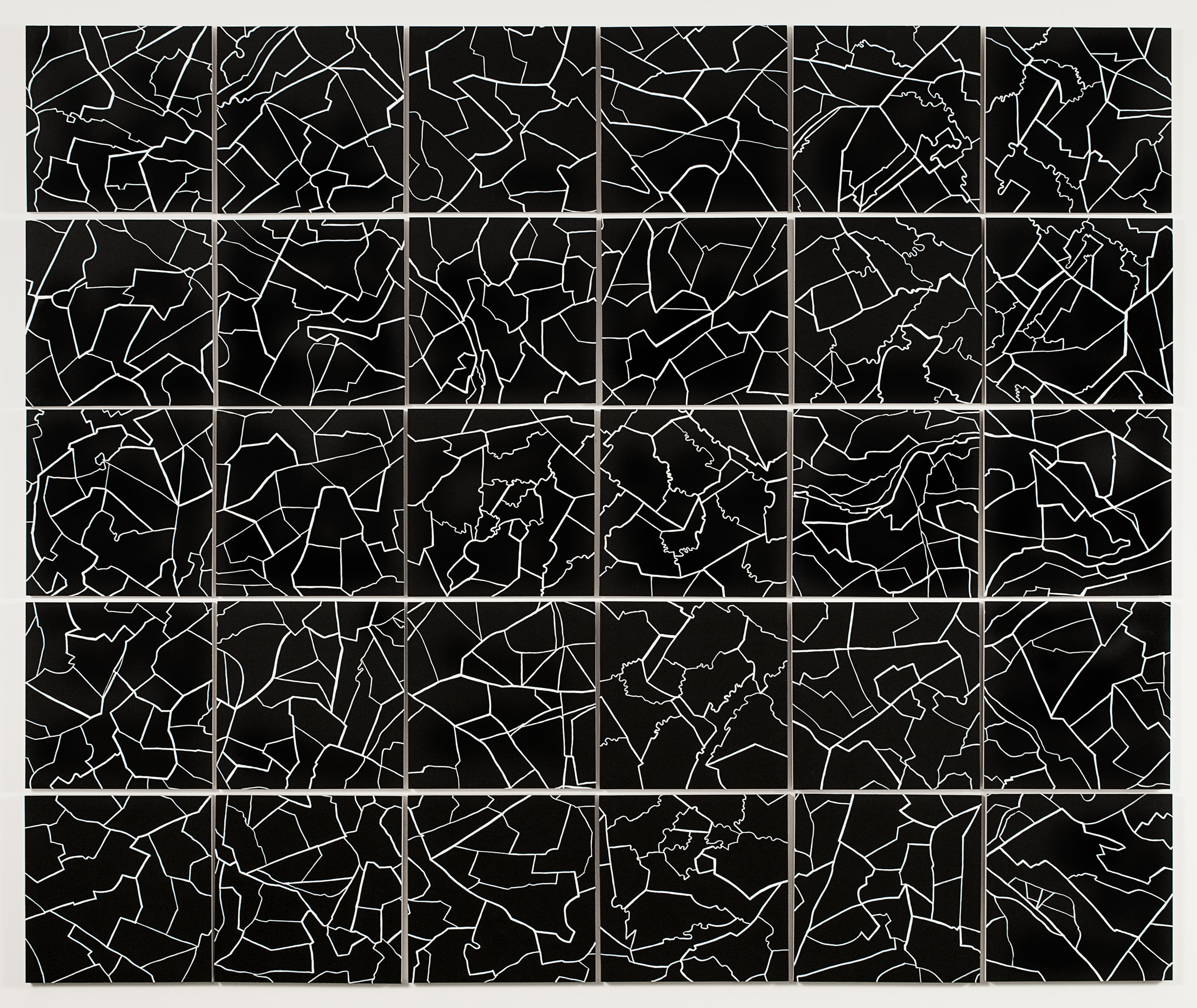 "Grid II,  2015   Gouache on paper mounted on panel, 30 - 12"" X 12"" panels   62.5"" X 75"""
