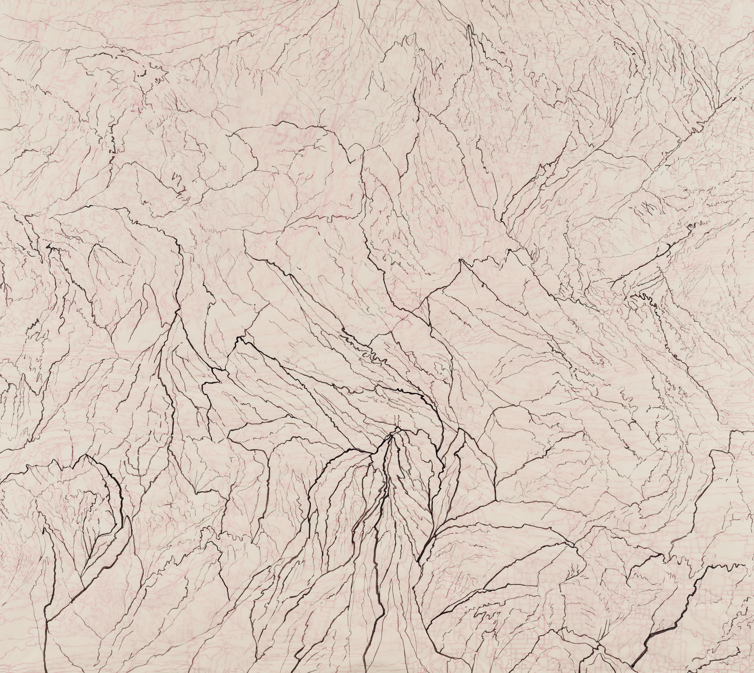 """Untitled VII, 2013   Brush and ink onkozo shi in twolayers   43"""" X 45"""""""