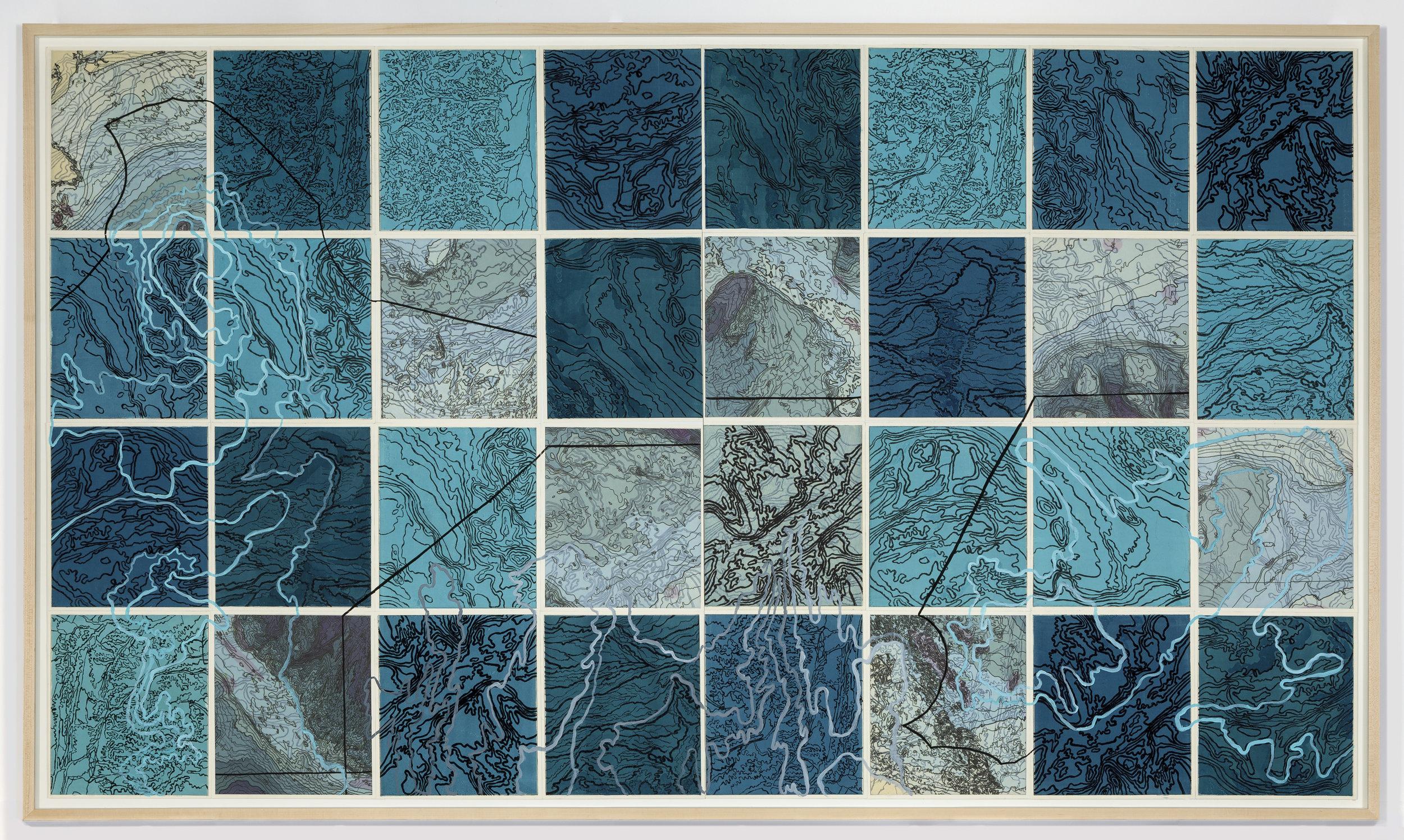 "Parvat/Sagar, 2 017   Intaglio sugar lift, line etching, surface roll, digital map on kozo-shi, paint, 32 – 12.25"" x 10.75"" segments 50"" X 89"""