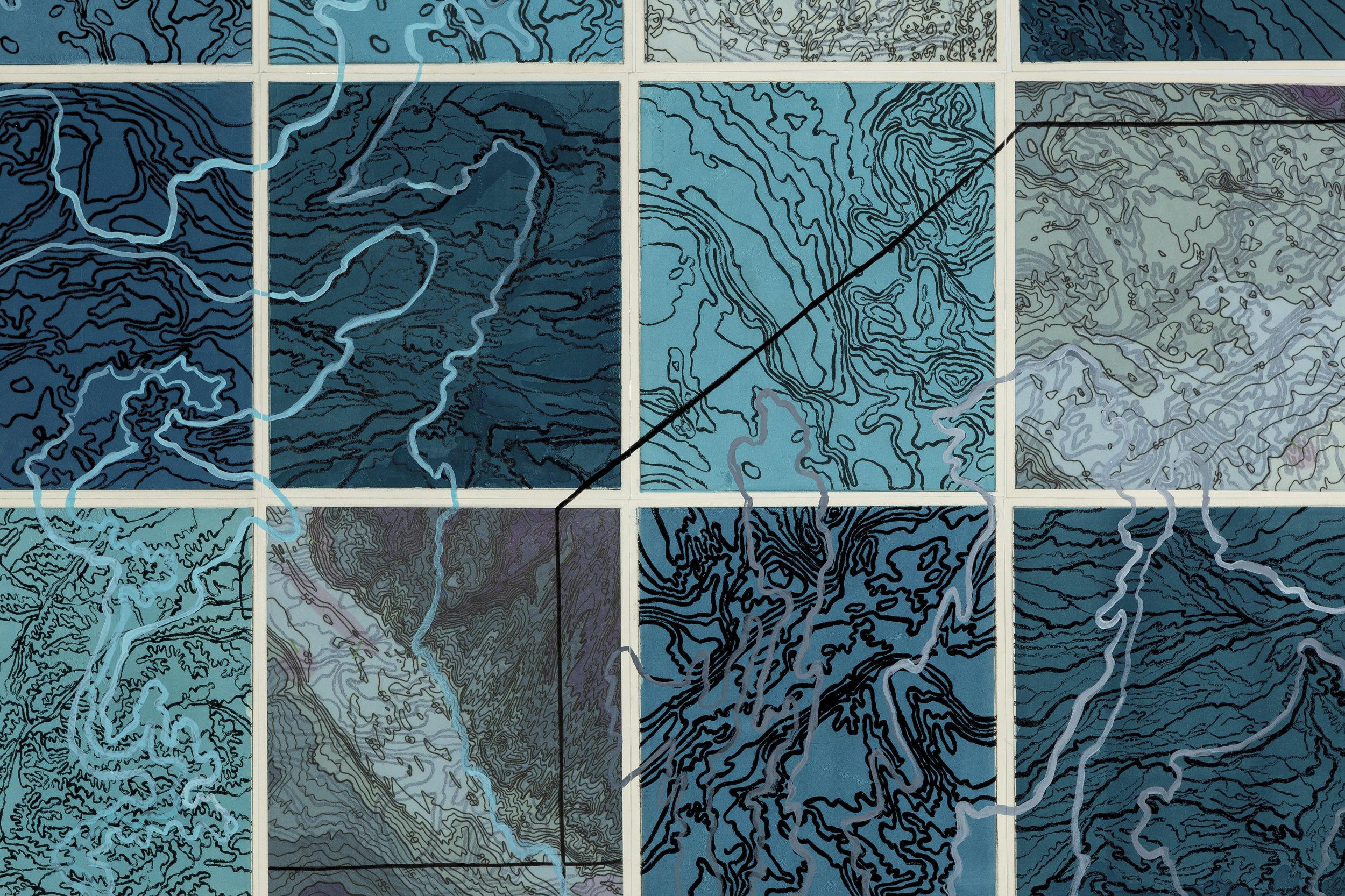 Parvat/Sagar, 2 017   Detail - intaglio sugar lift, line etching, surface roll, digital map on kozo-shi, paint