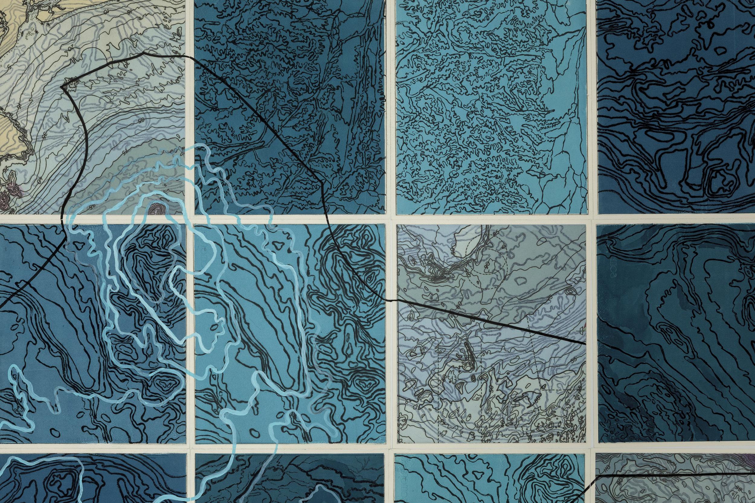 Parvar/Sagar, 2 017   Detail - intaglio sugar lift, line etching, surface roll, digital map on kozo-shi, paint