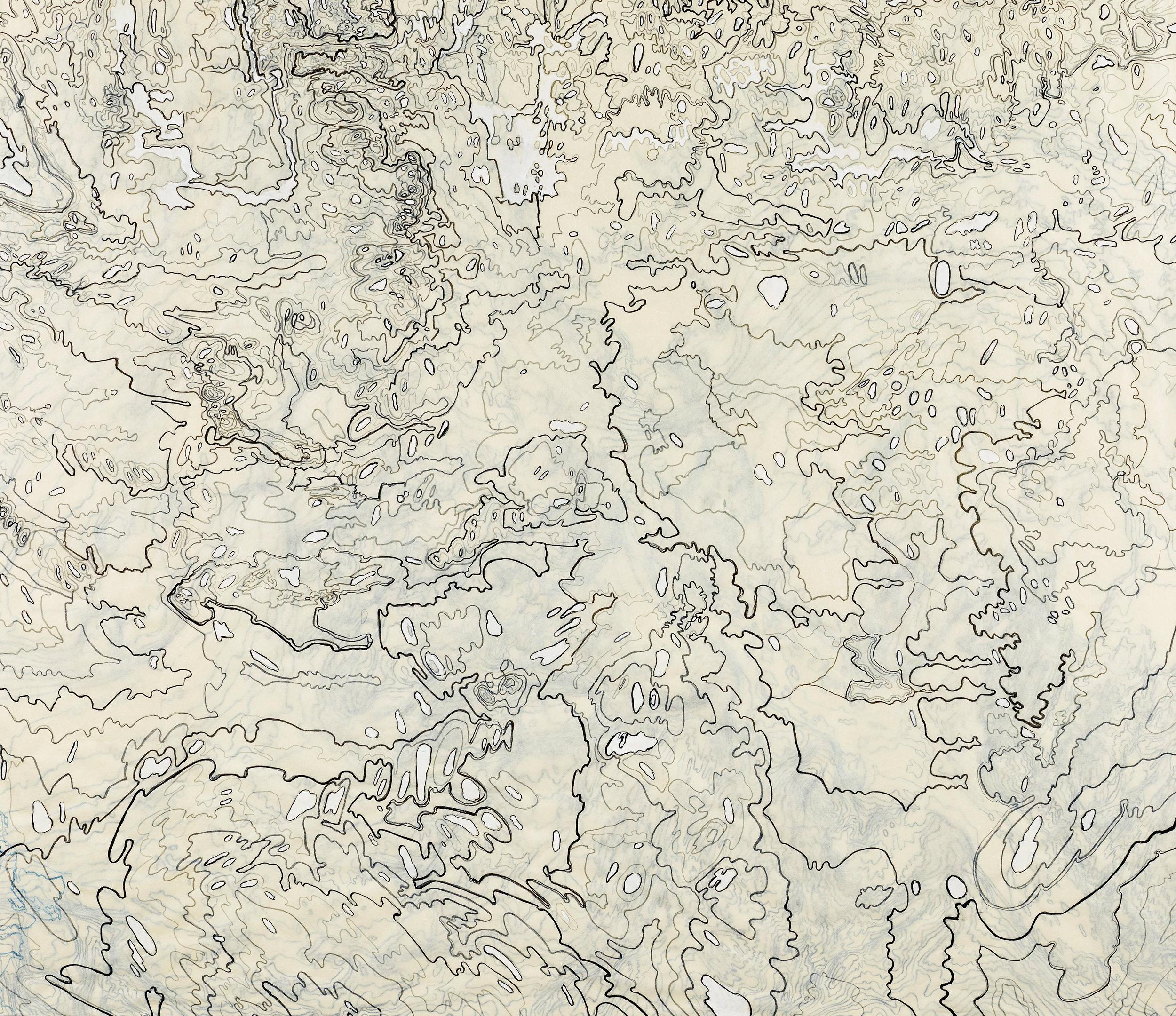 "Bathometric II, 2013   Layered kozo shi, gouache, ink in two layers   46.5"" X 57.5"""