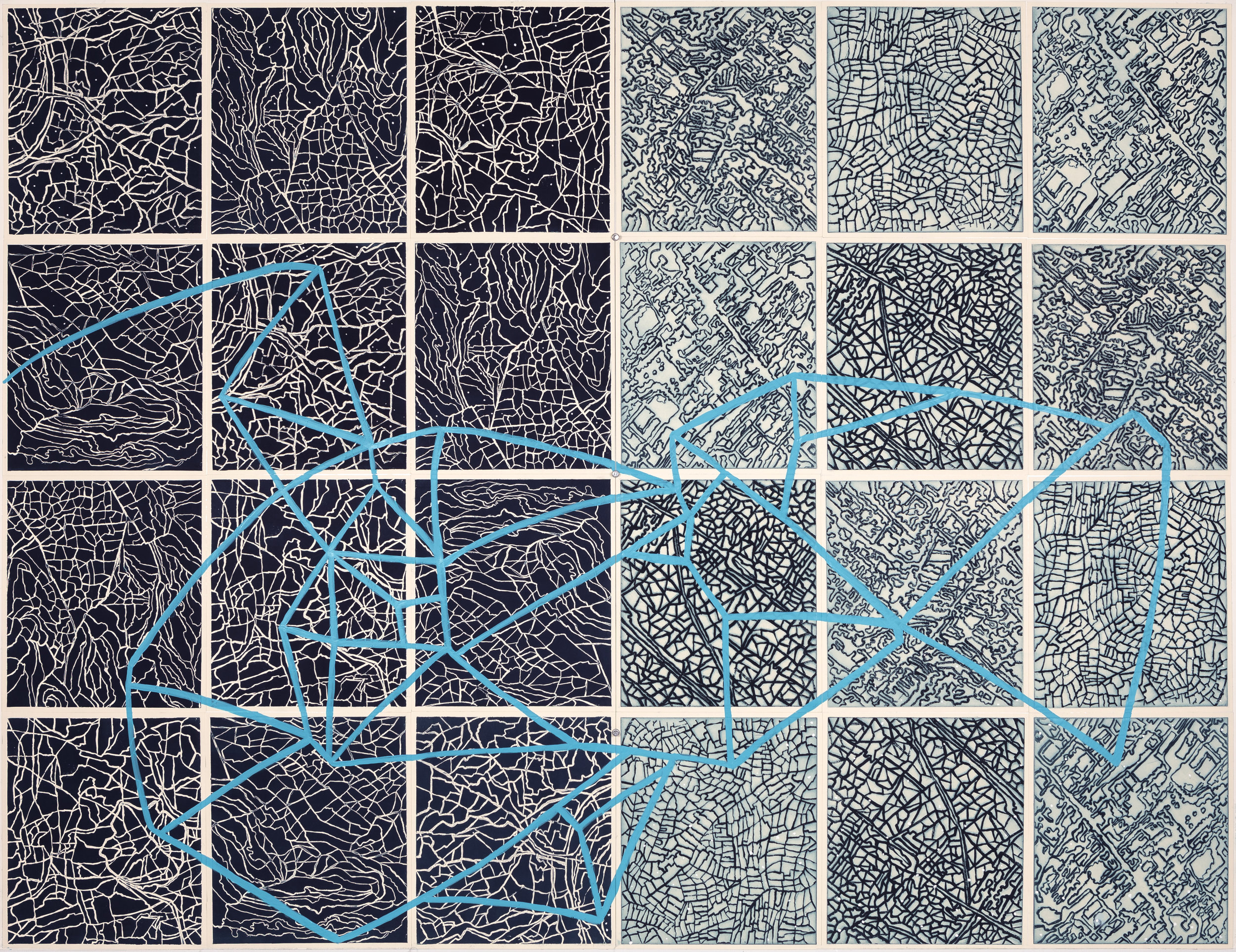 "Artificial Horizon, 2017  Intaglio sugar lift, line etching, surface roll, paint,24 - 12.25"" x 10.75"" segments, 50"" x 65"" 50"" X 65"""
