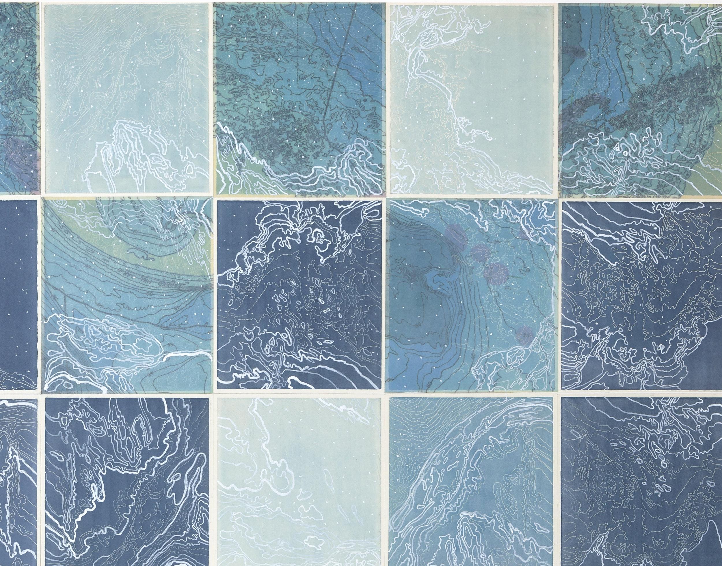 Celestial Navigation,    2 016  Detail - intaglio sugar lift, line etching, surface roll, digital map on kozo-shi, paint
