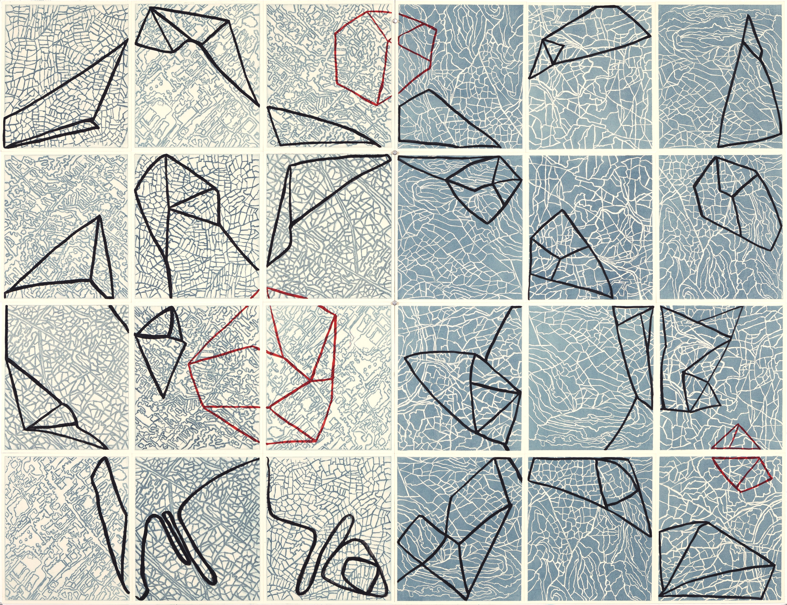 """Connect the Dots,    2 017   Intaglio sugar lift, line etching, surface roll,paint,24 - 12.25"""" x 10.75"""" segments 50"""" X 65"""""""
