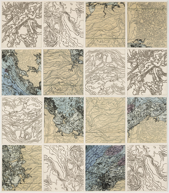 """Topo Loco,    2 017  Intaglio sugar lift, line etching, ghost print, digital map on kozo-shi, 16 - 12.25"""" x 10.75"""" segments 50"""" X 45"""""""