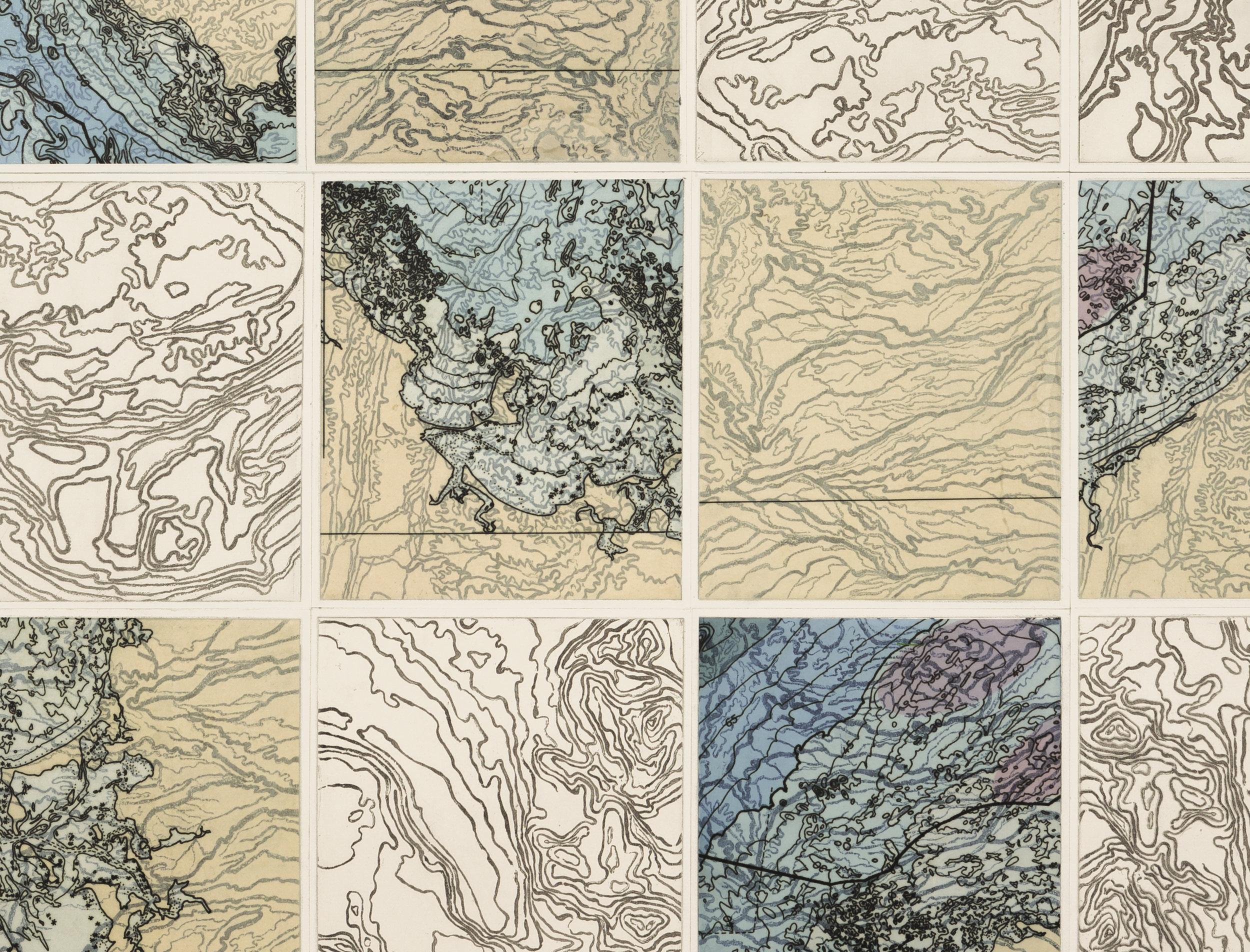 Topo Loco,    2 017  Detail - intaglio sugar lift, line etching, ghost print, digital map on kozo-shi