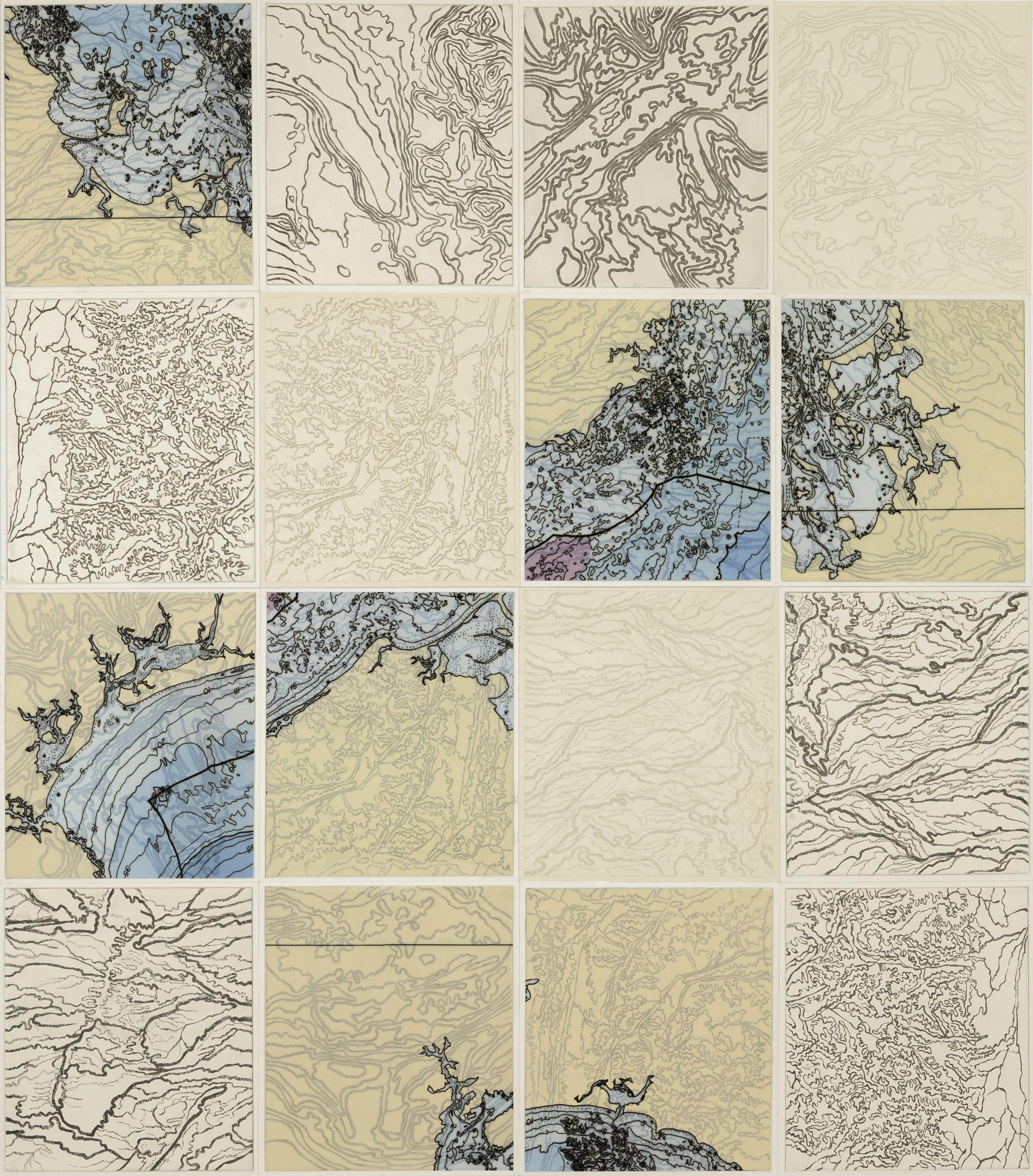 """Loco Topo,    2 017  Intaglio sugar lift, line etching, ghost print, digital map on kozo-shi 16 - 12.25"""" x 10.75"""" segments 50"""" X 45"""""""