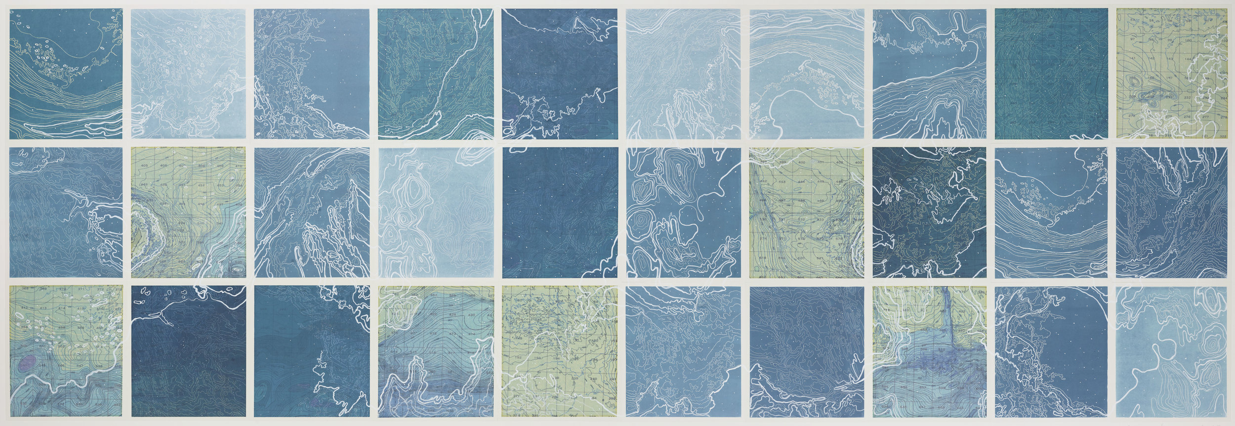 """Hyperborean Sea,2 017  Line etching, relief roll, ghost print, digital map on kozo-shi, paint 40"""" X 115"""""""