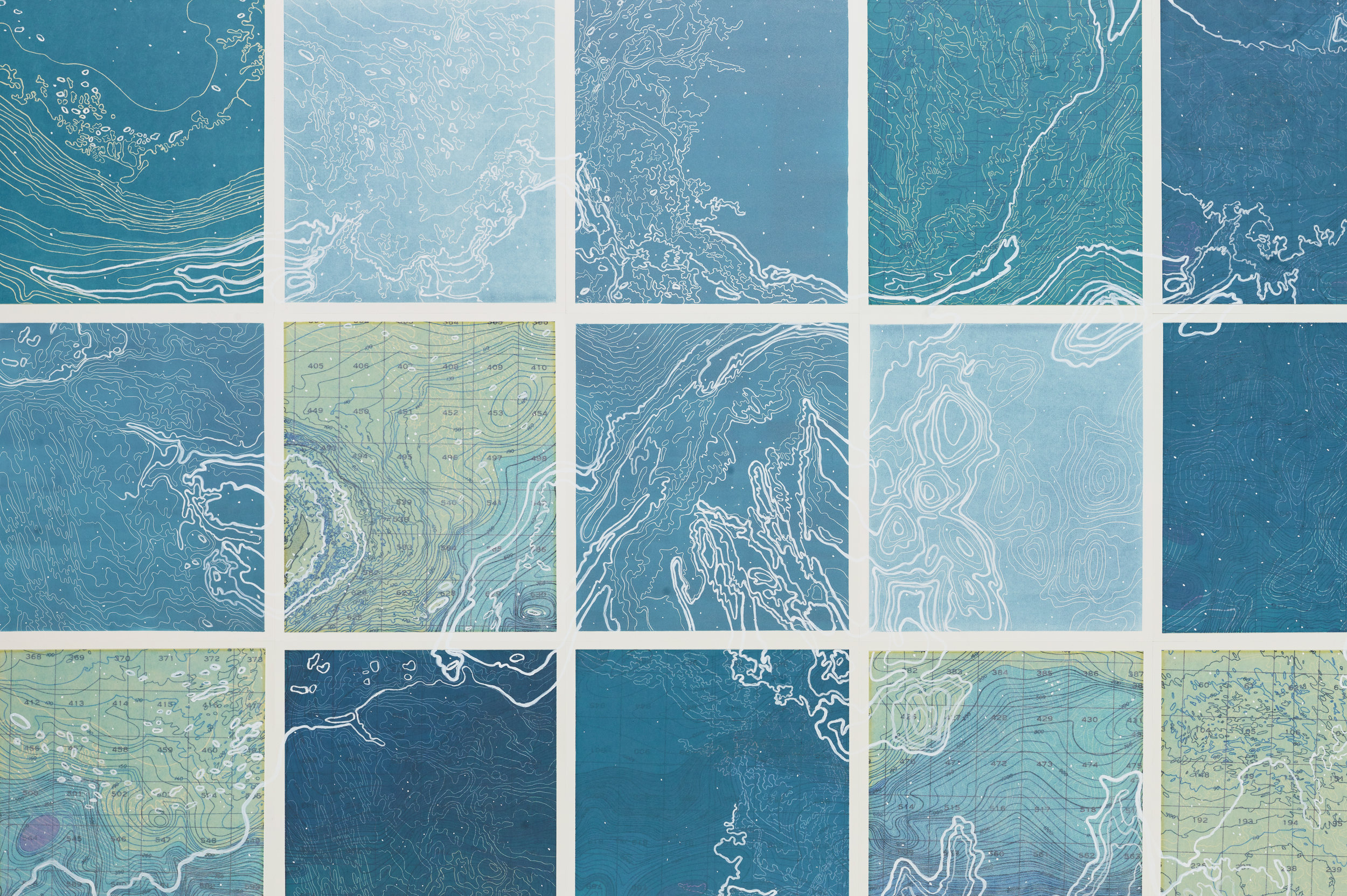 Hyperborean Sea,2 017  Detail - line etching, relief roll, ghost print, digital map on kozo-shi, paint