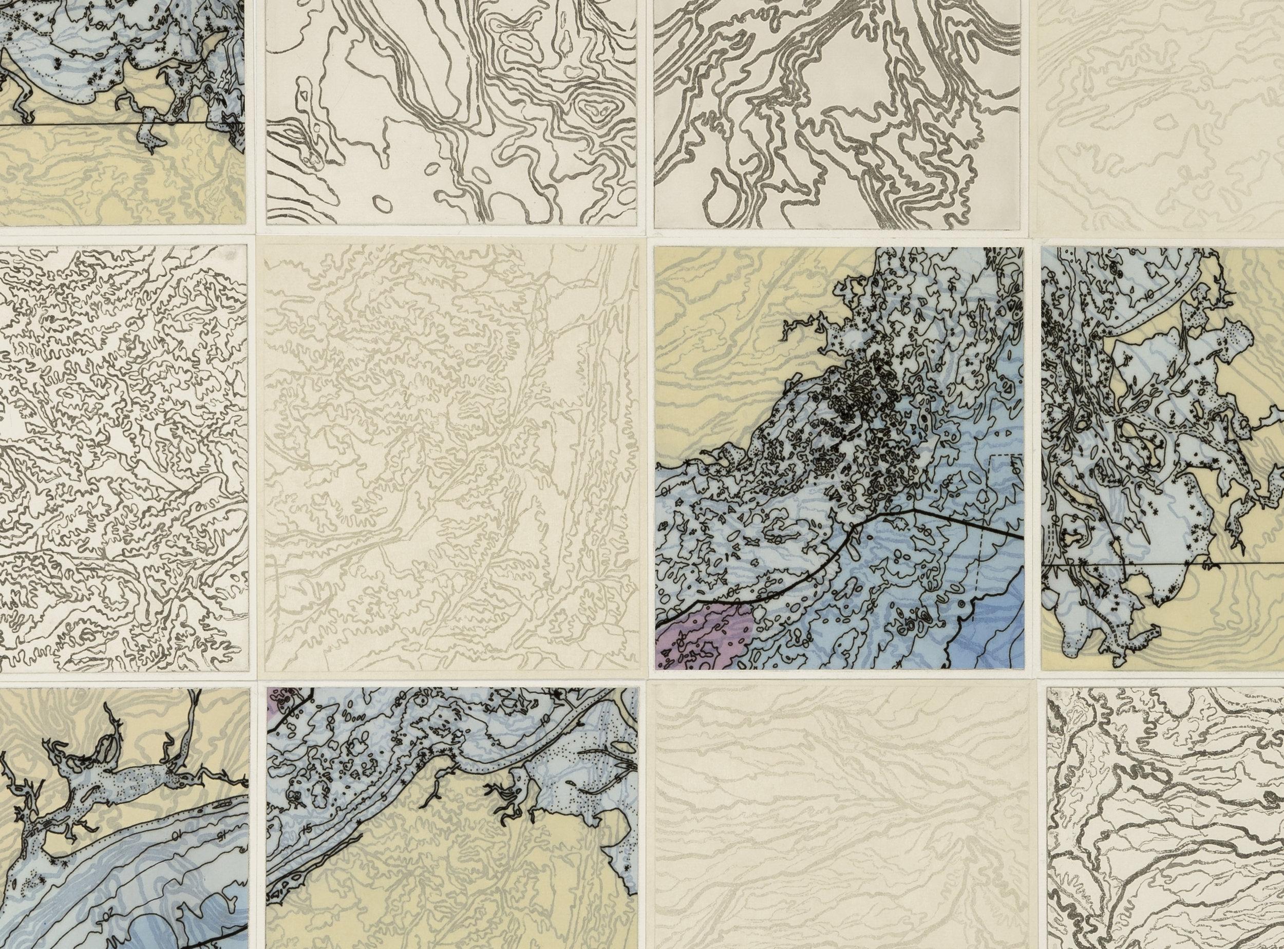 Loco Topo,    2 017  Detail - intaglio sugar lift, line etching, ghost print, digital map on kozo-shi