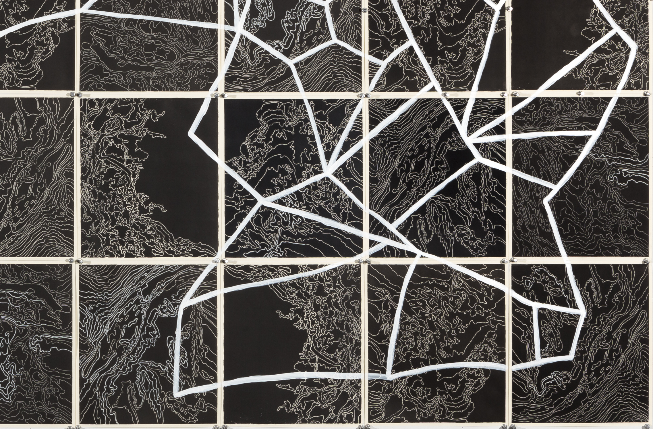 Quasars and Pulsars II,    2 016  Detail - intaglio sugar lift, line etching, surface roll, paint