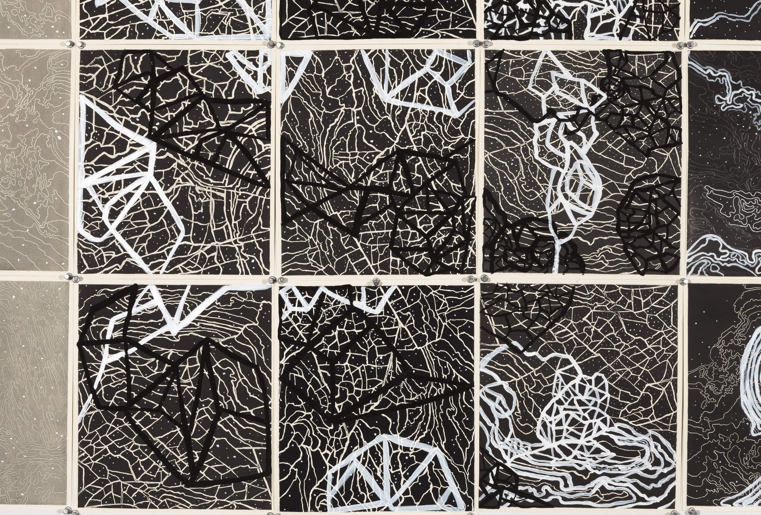 Quasars and Pulsars I,    2 016  Detail - intaglio sugar lift, line etching, surface roll, paint