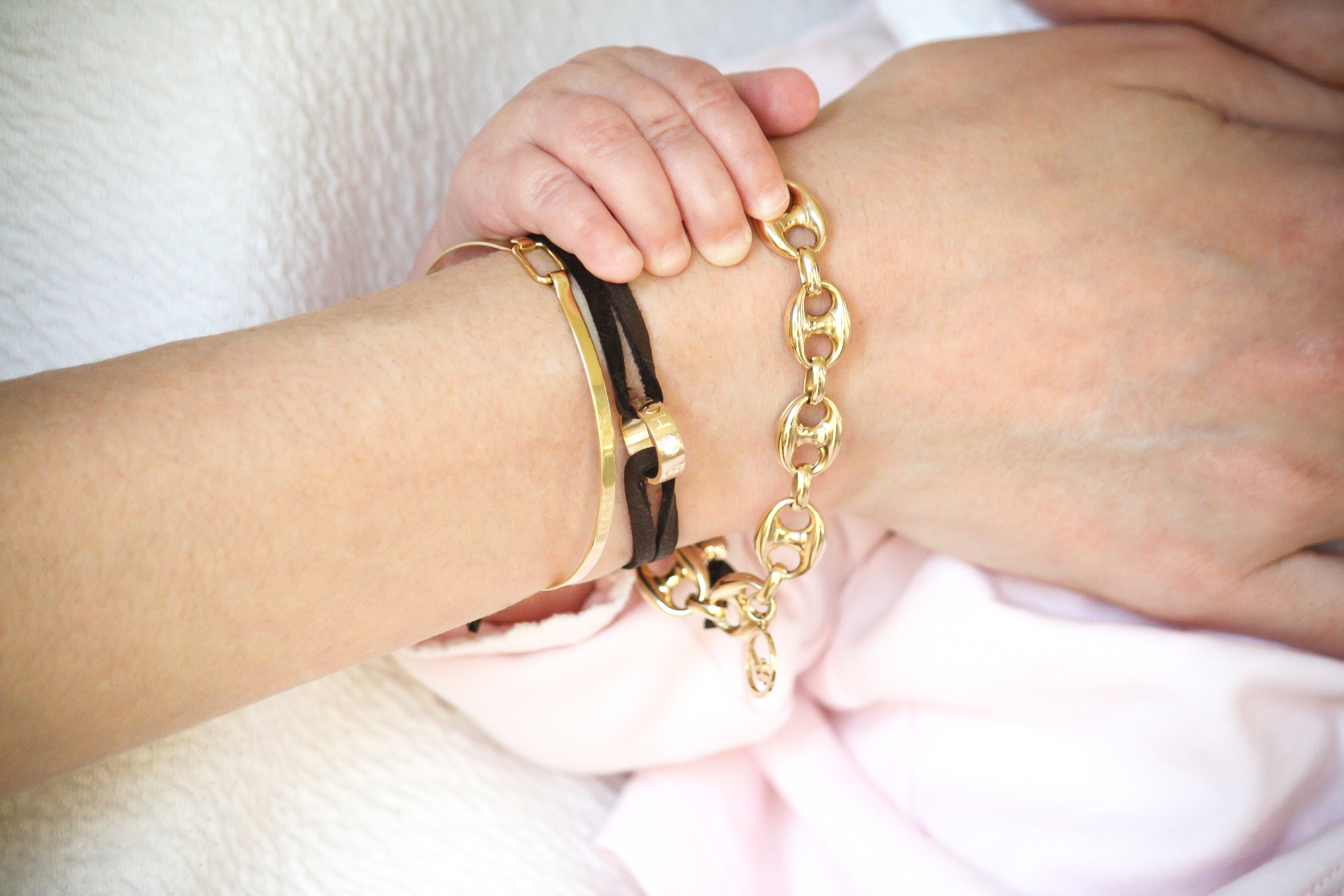 namesake bracelet by Kerry Gilligan -- custom engraved initials on 14k yellow gold available with or without diamonds -- mothers day, push present, baby gift